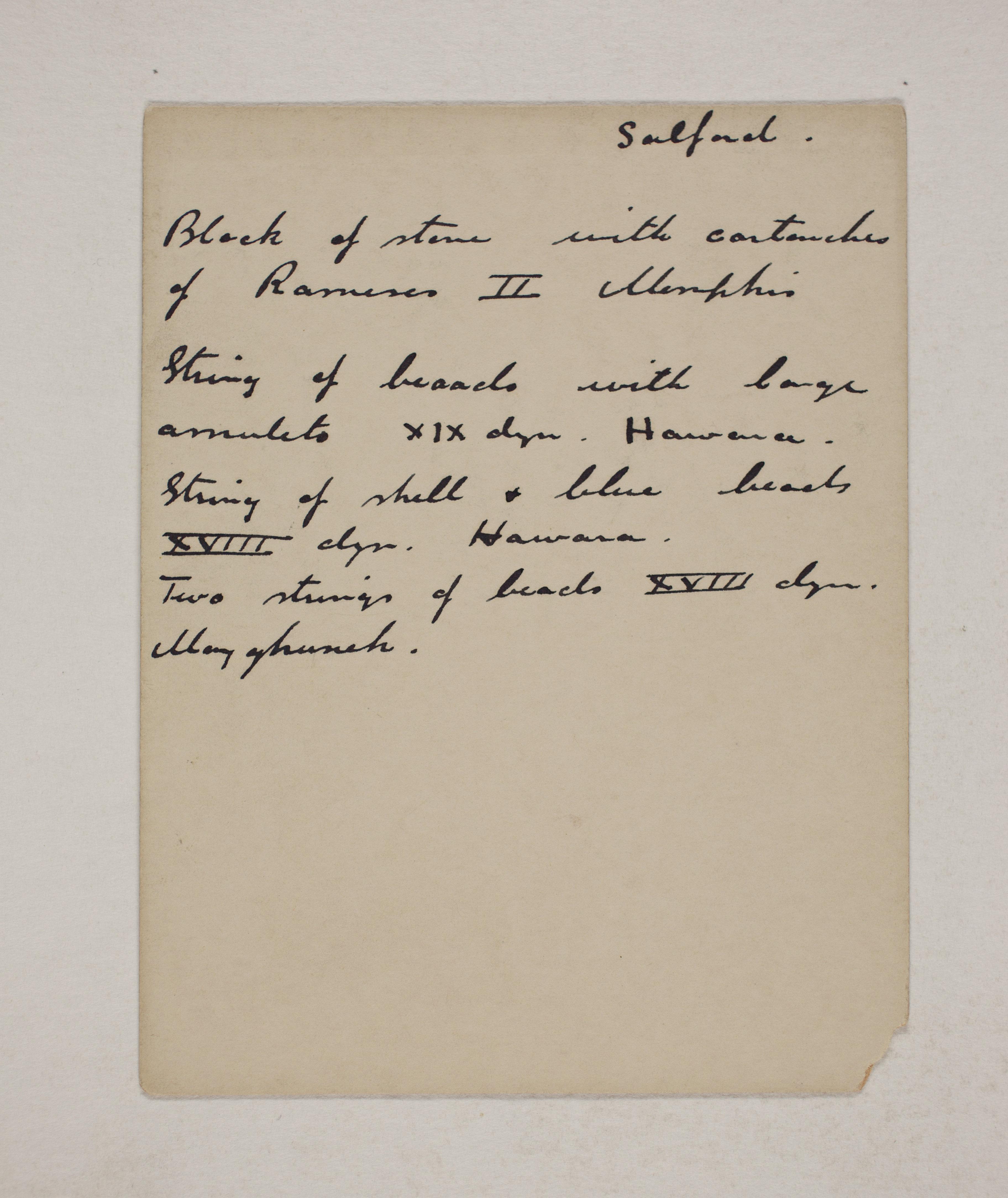 1910-11 Hawara, Gerzeh, Memphis, Mazghuneh Individual institution list  PMA/WFP1/D/19/31