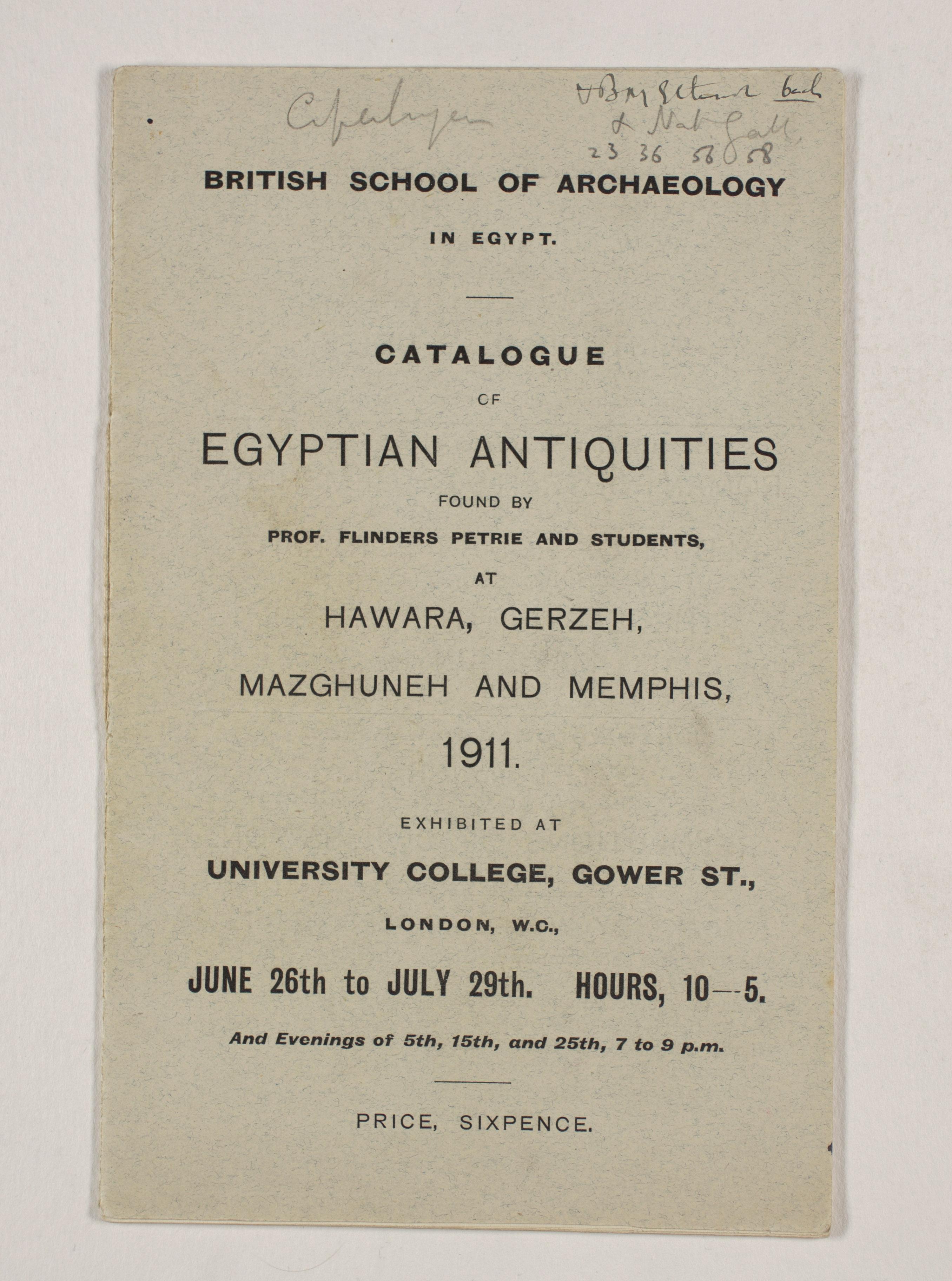 1910-11 Hawara, Gerzeh, Memphis, Mazghuneh Exhibition catalogue PMA/WFP1/D/19/33.1