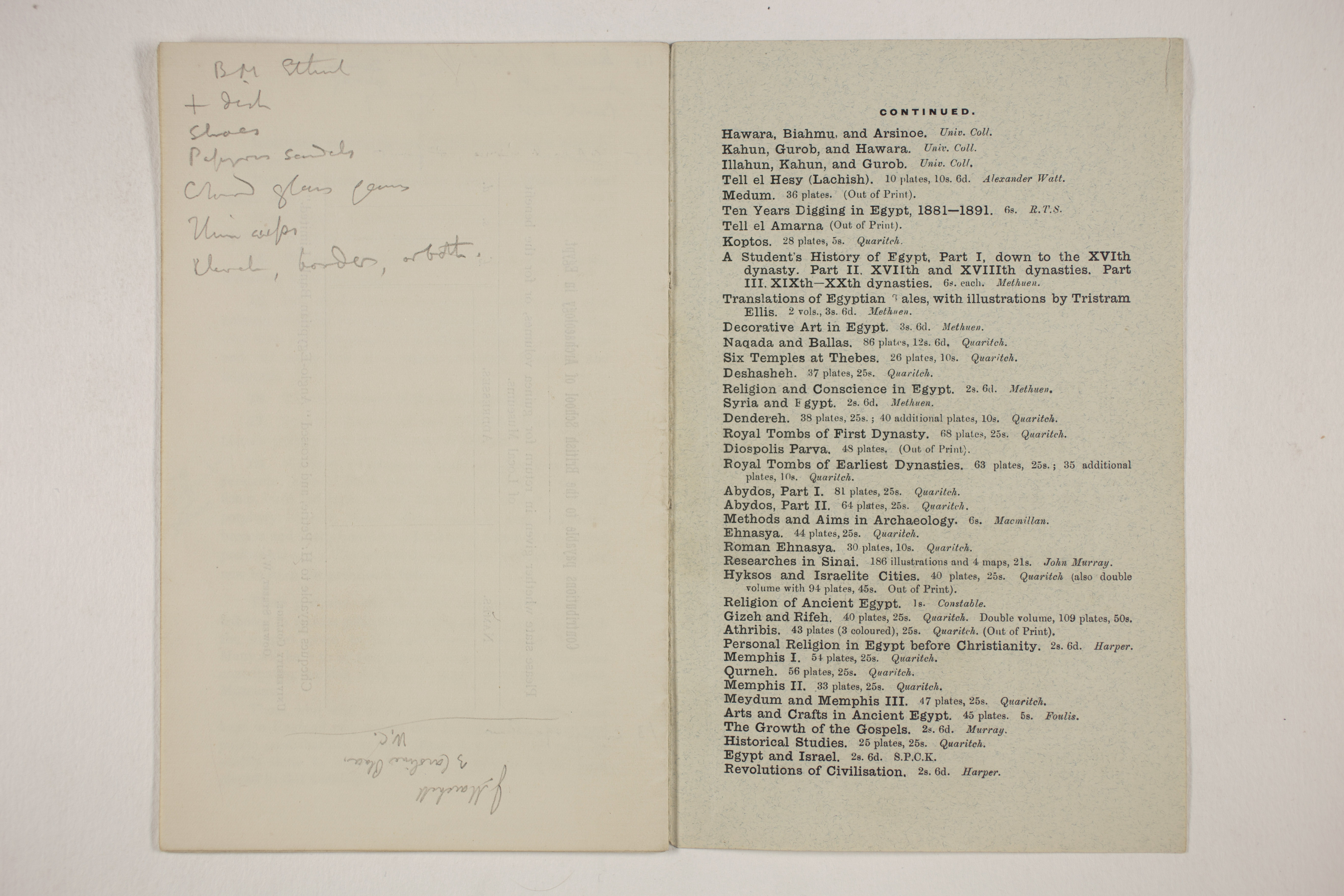 1910-11 Hawara, Gerzeh, Memphis, Mazghuneh Exhibition catalogue PMA/WFP1/D/19/33.10