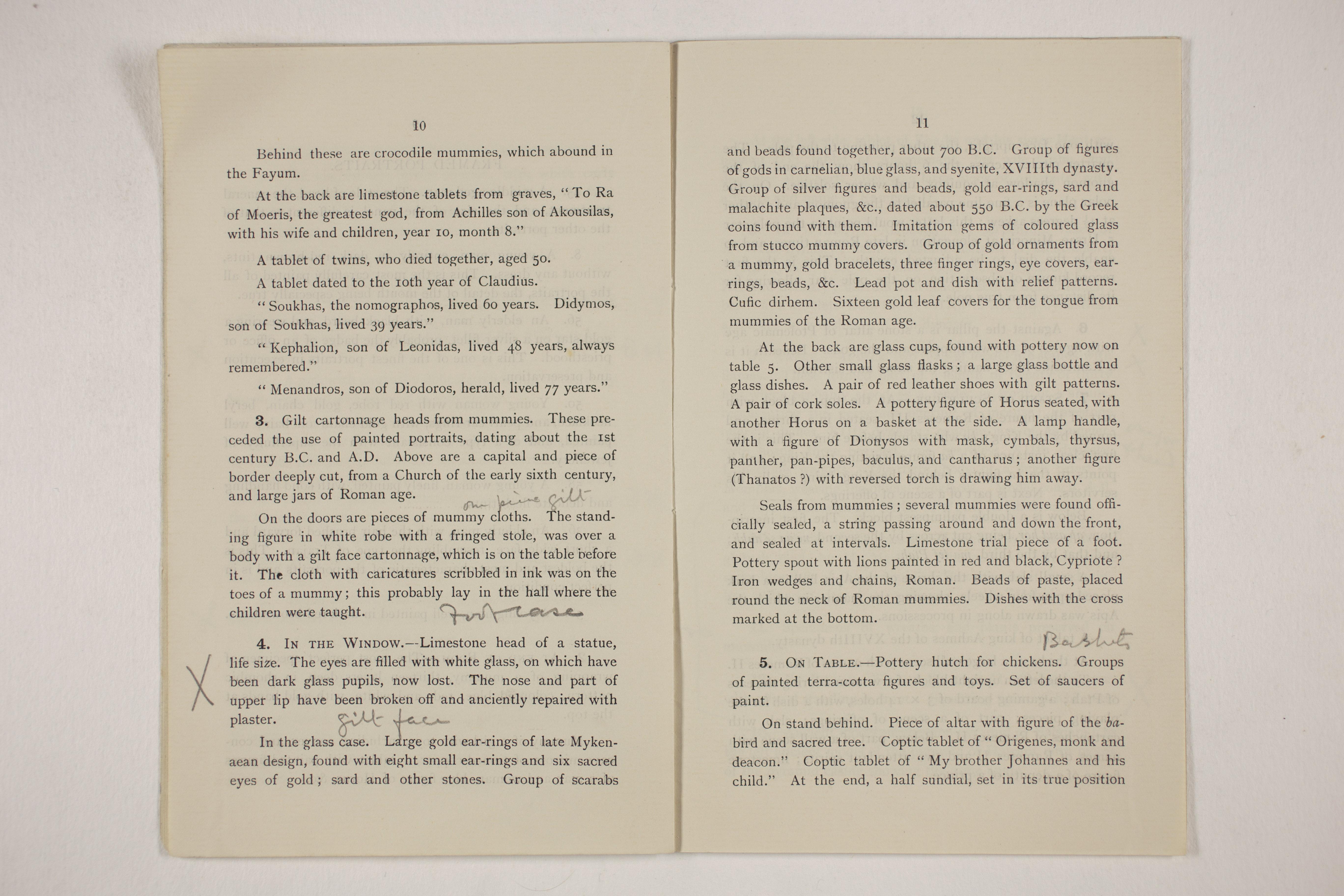 1910-11 Hawara, Gerzeh, Memphis, Mazghuneh Exhibition catalogue PMA/WFP1/D/19/33.7
