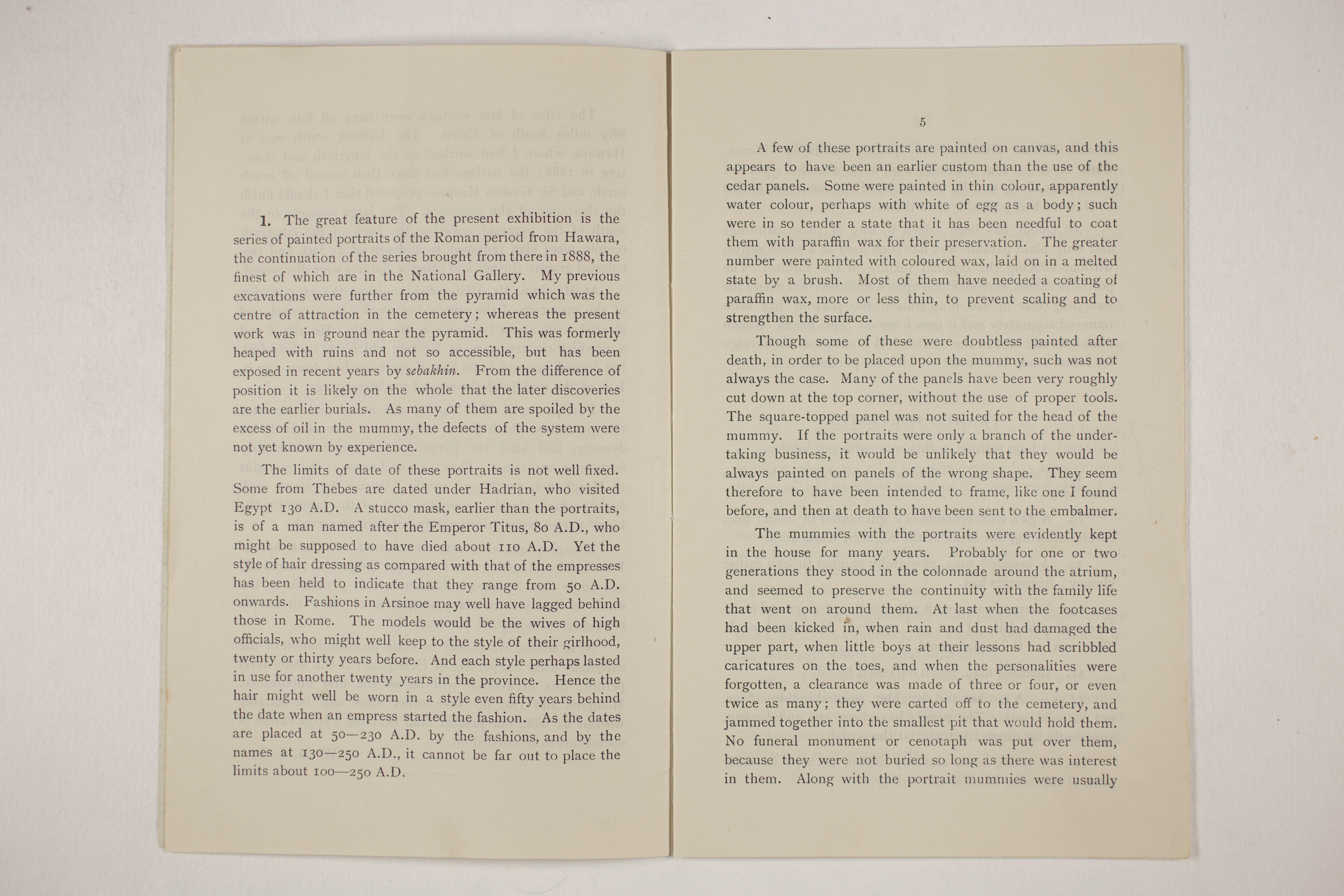 1910-11 Hawara, Gerzeh, Memphis, Mazghuneh Exhibition catalogue PMA/WFP1/D/19/34.4