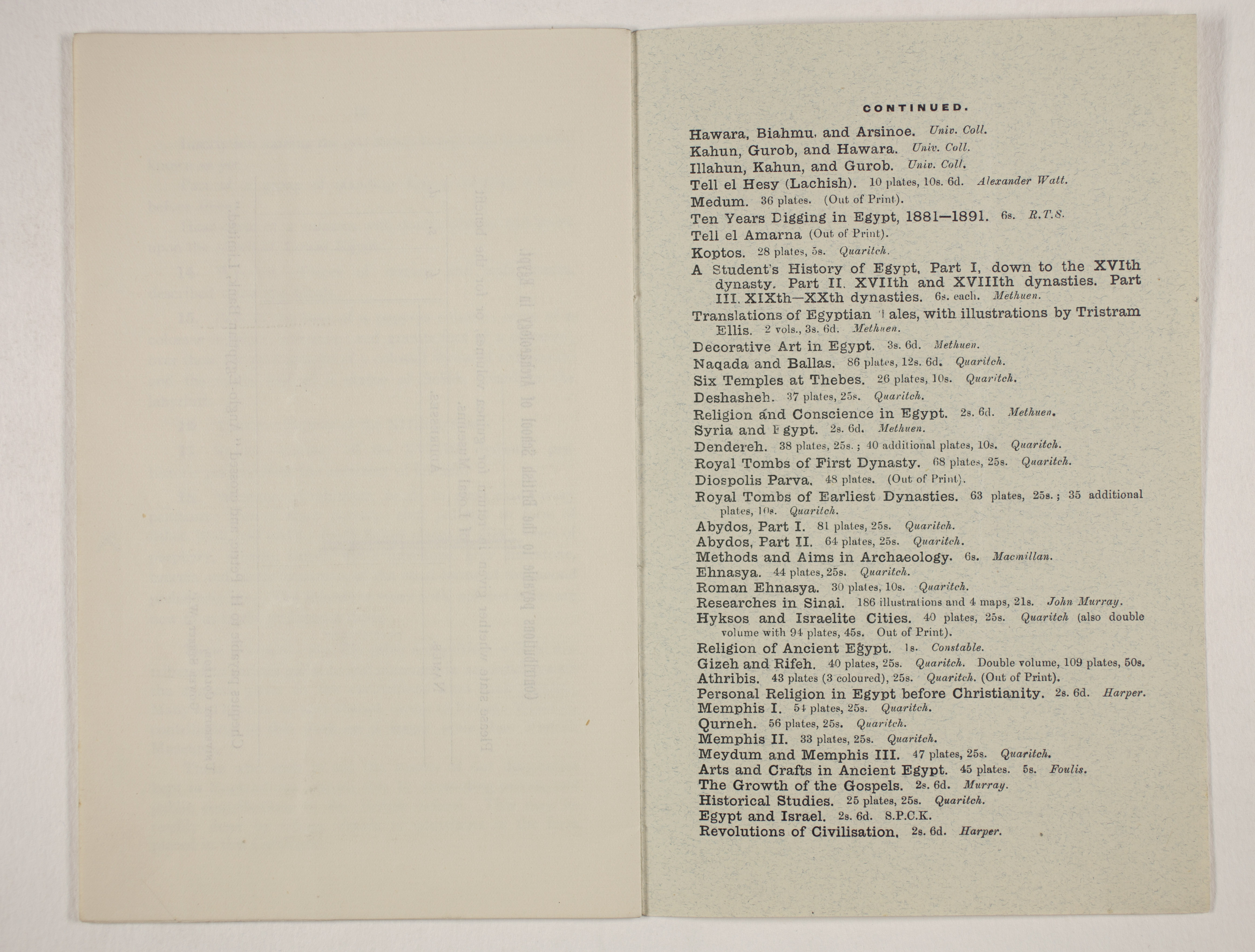 1910-11 Hawara, Gerzeh, Memphis, Mazghuneh Exhibition catalogue PMA/WFP1/D/19/35.10