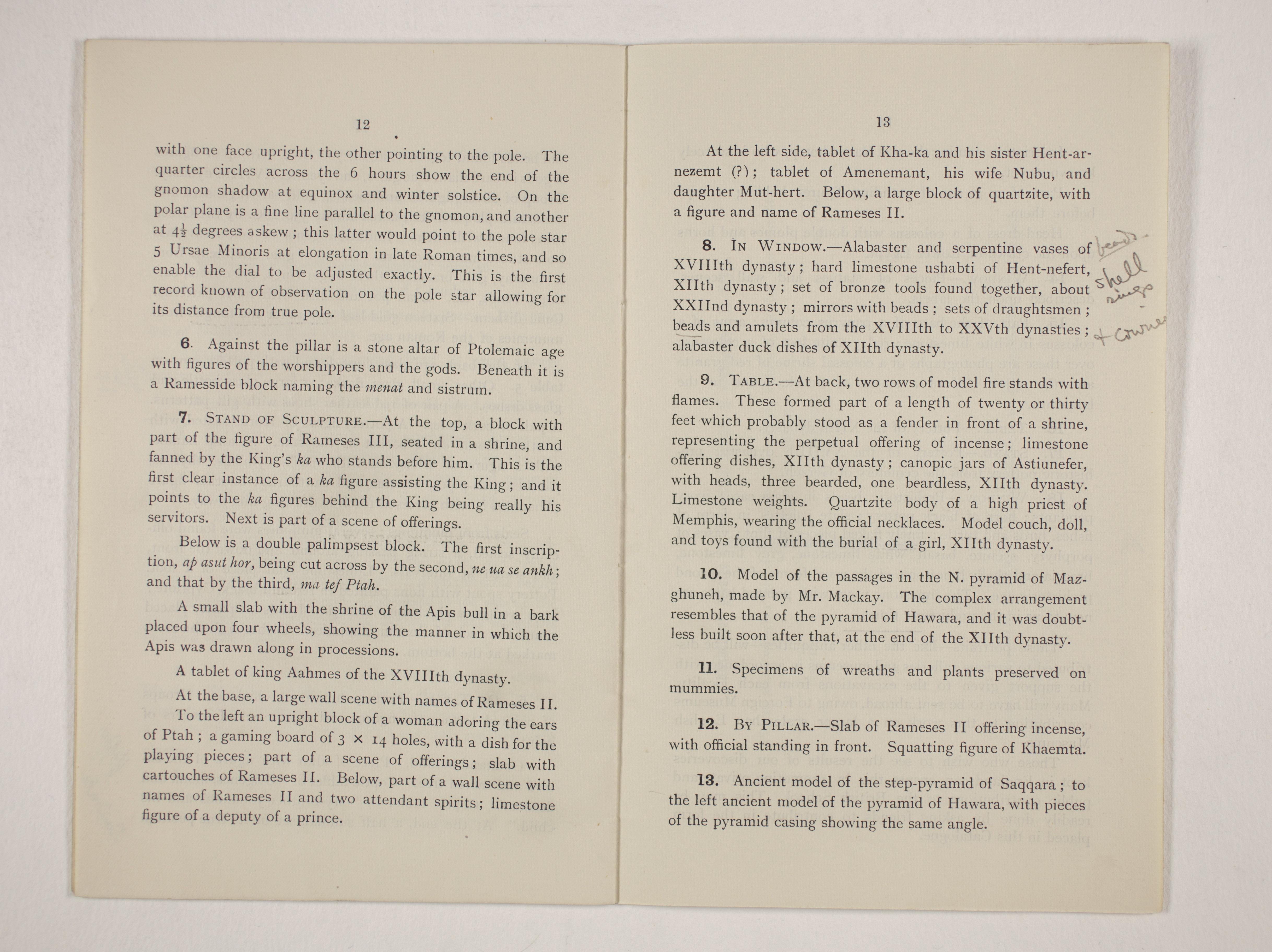 1910-11 Hawara, Gerzeh, Memphis, Mazghuneh Exhibition catalogue PMA/WFP1/D/19/35.8