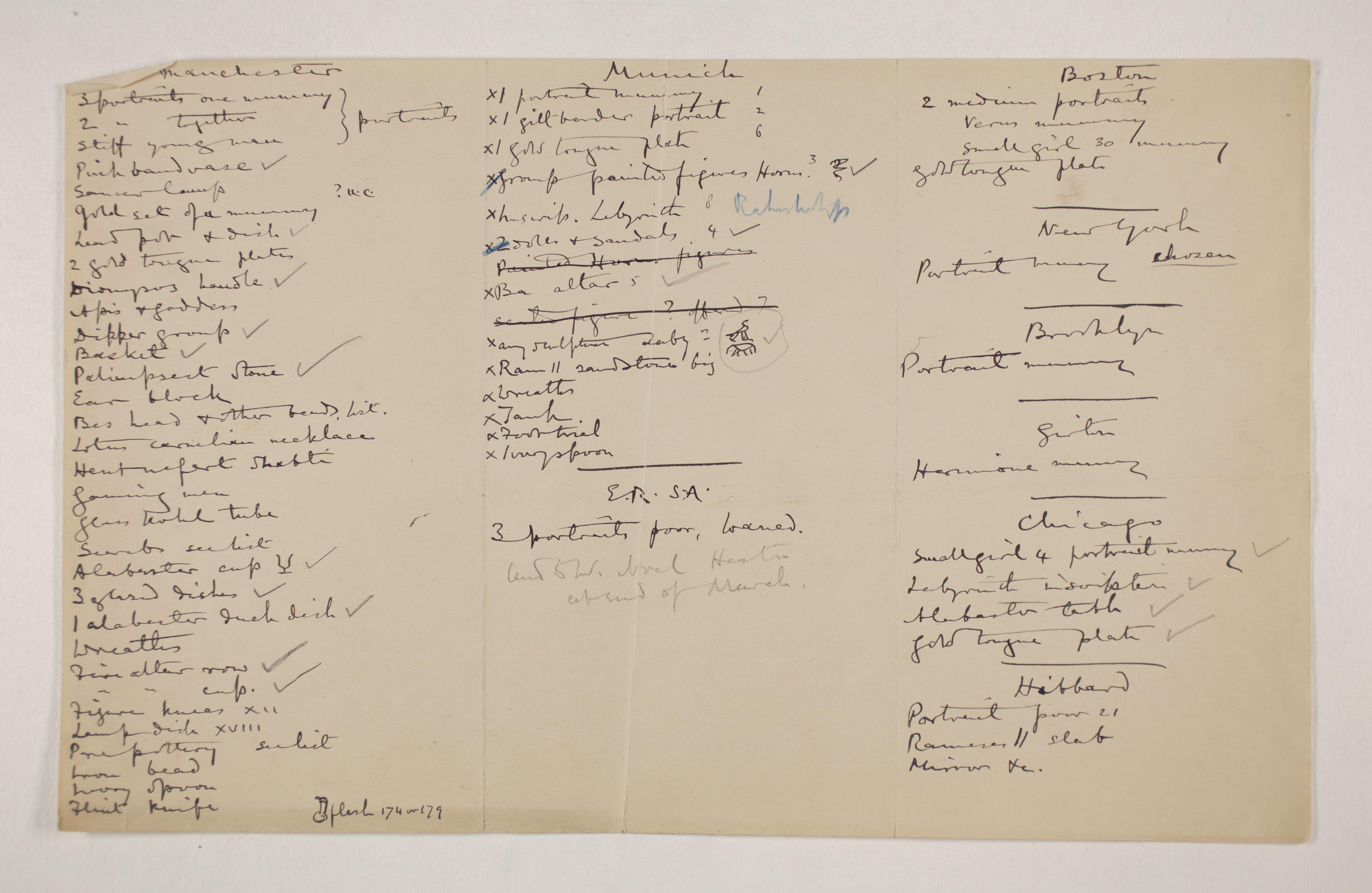 1910-11 Hawara, Gerzeh, Memphis, Mazghuneh Multiple institution list PMA/WFP1/D/19/9