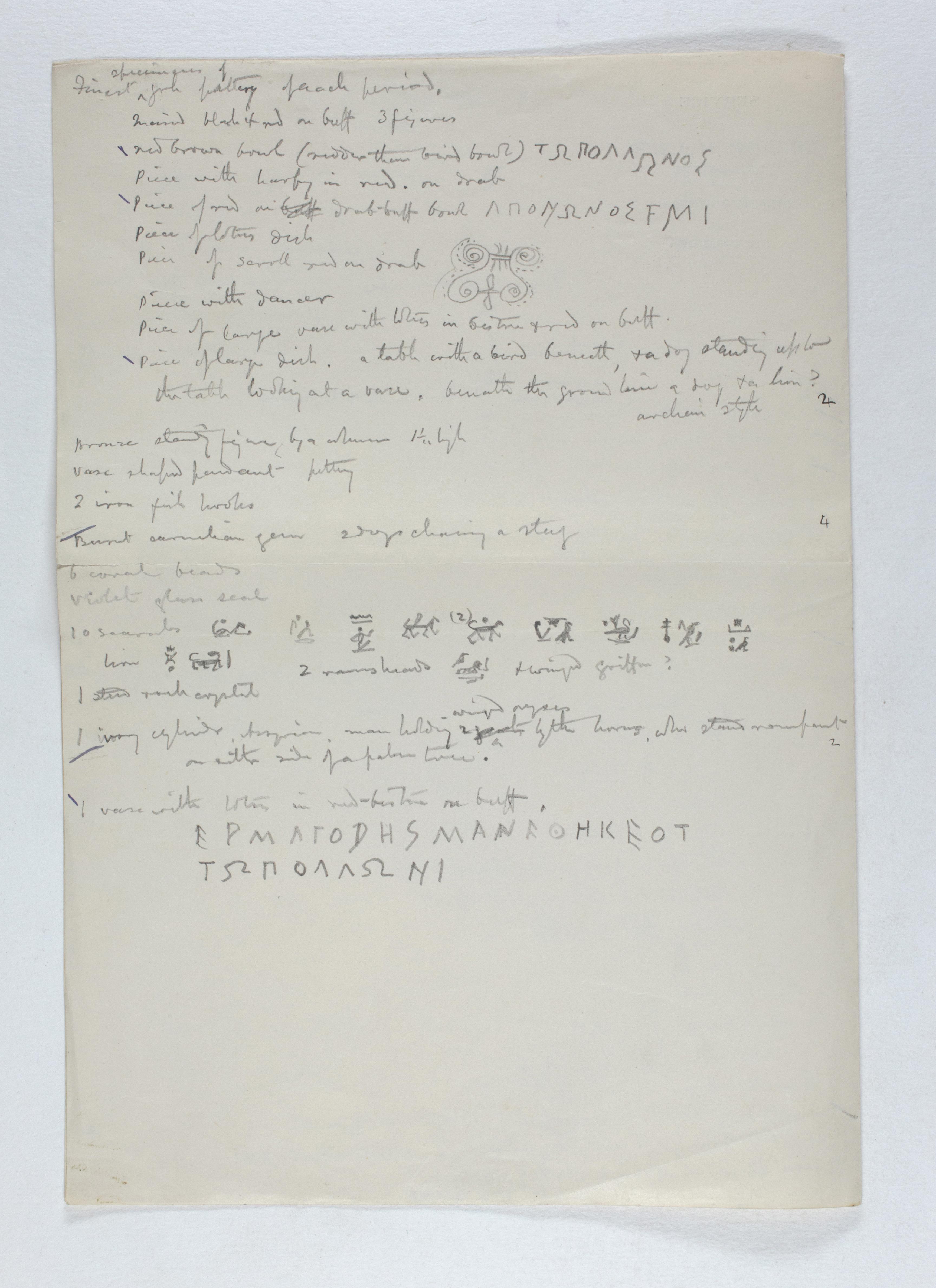 1885-1894  Object list PMA/WFP1/D/1/1.2