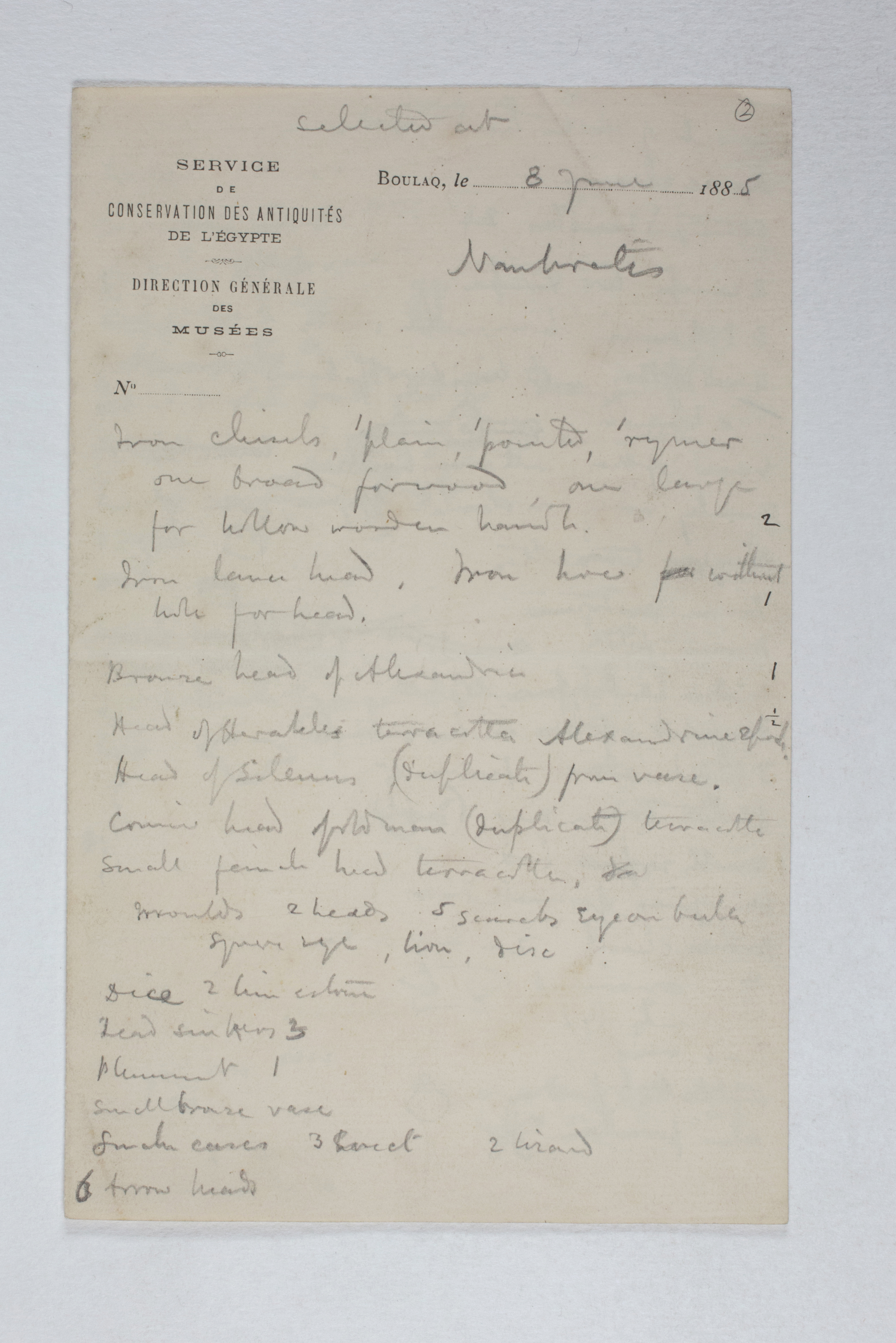 1885-1894  Object list PMA/WFP1/D/1/2.1