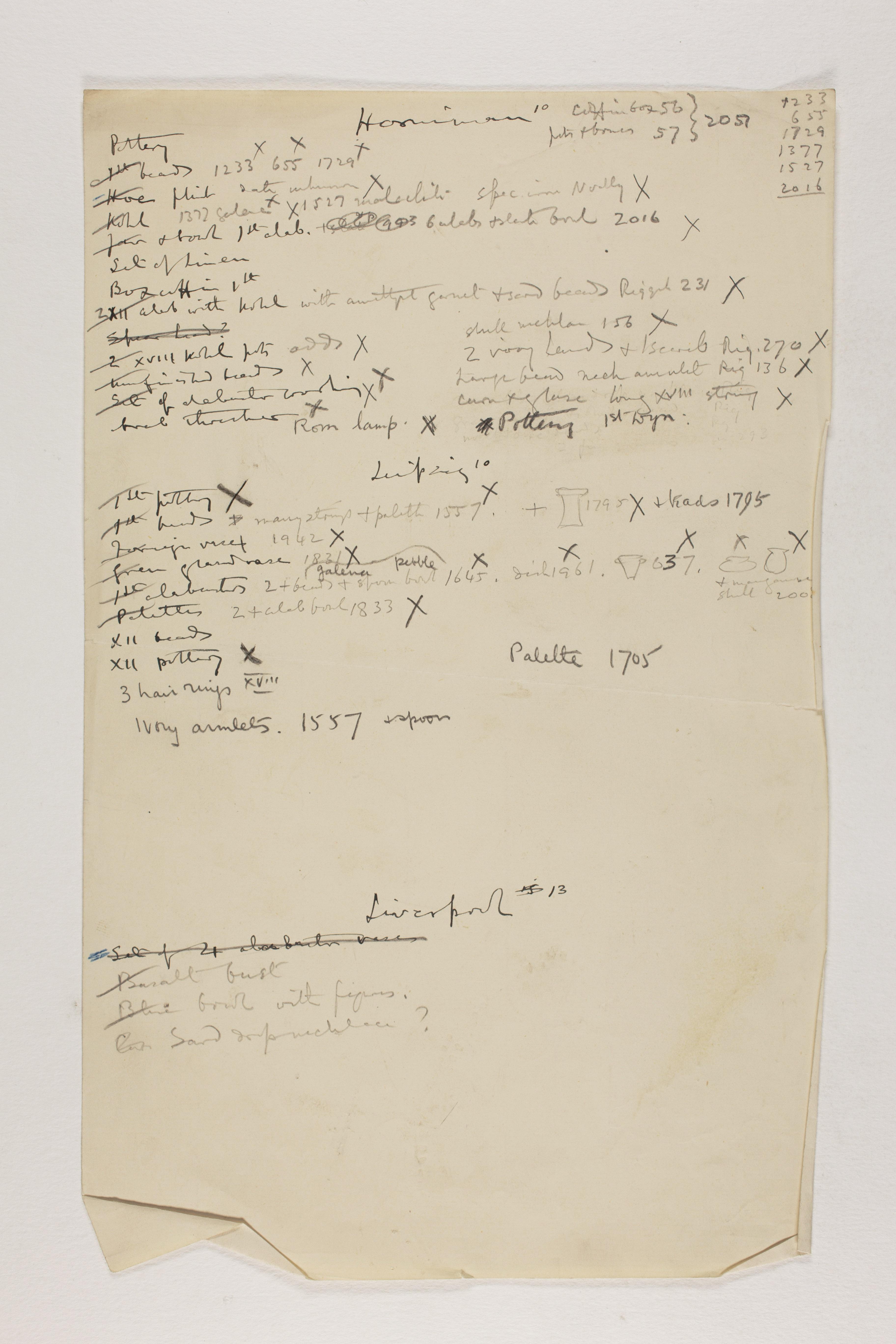 1912-13 Tarkhan, el-Riqqa, Memphis Multiple institution list PMA/WFP1/D/21/10