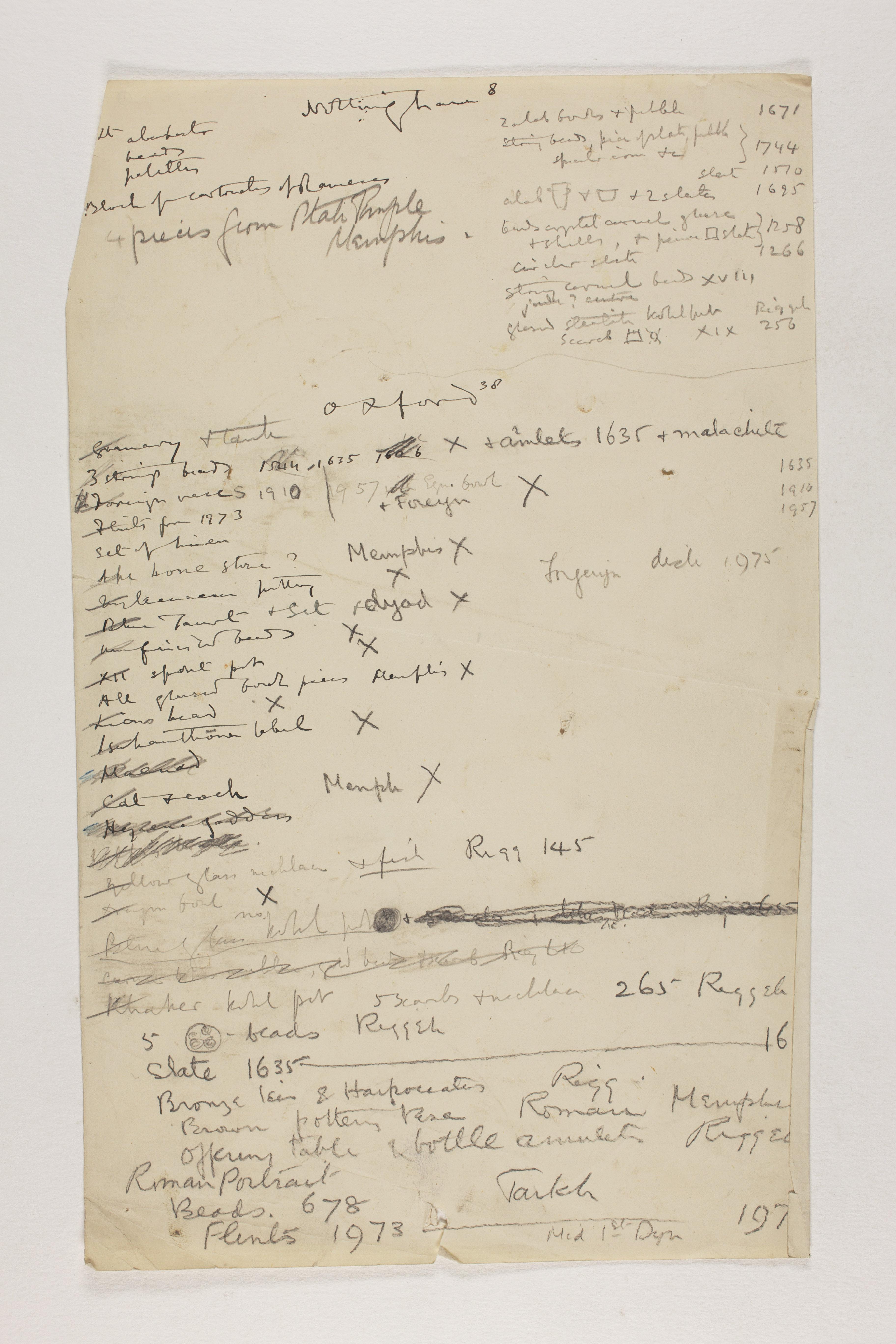 1912-13 Tarkhan, el-Riqqa, Memphis Multiple institution list PMA/WFP1/D/21/13