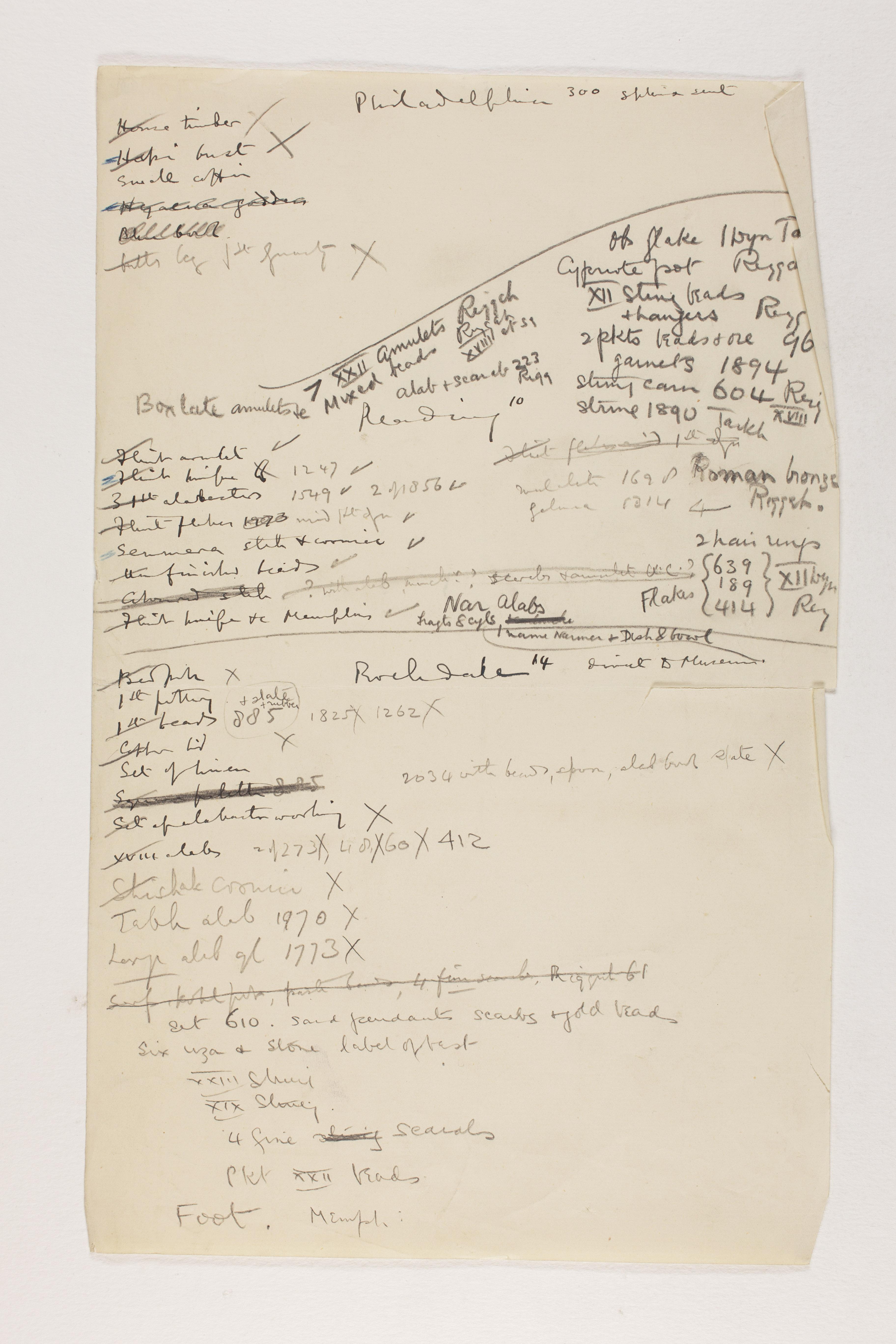 1912-13 Tarkhan, el-Riqqa, Memphis Multiple institution list PMA/WFP1/D/21/14