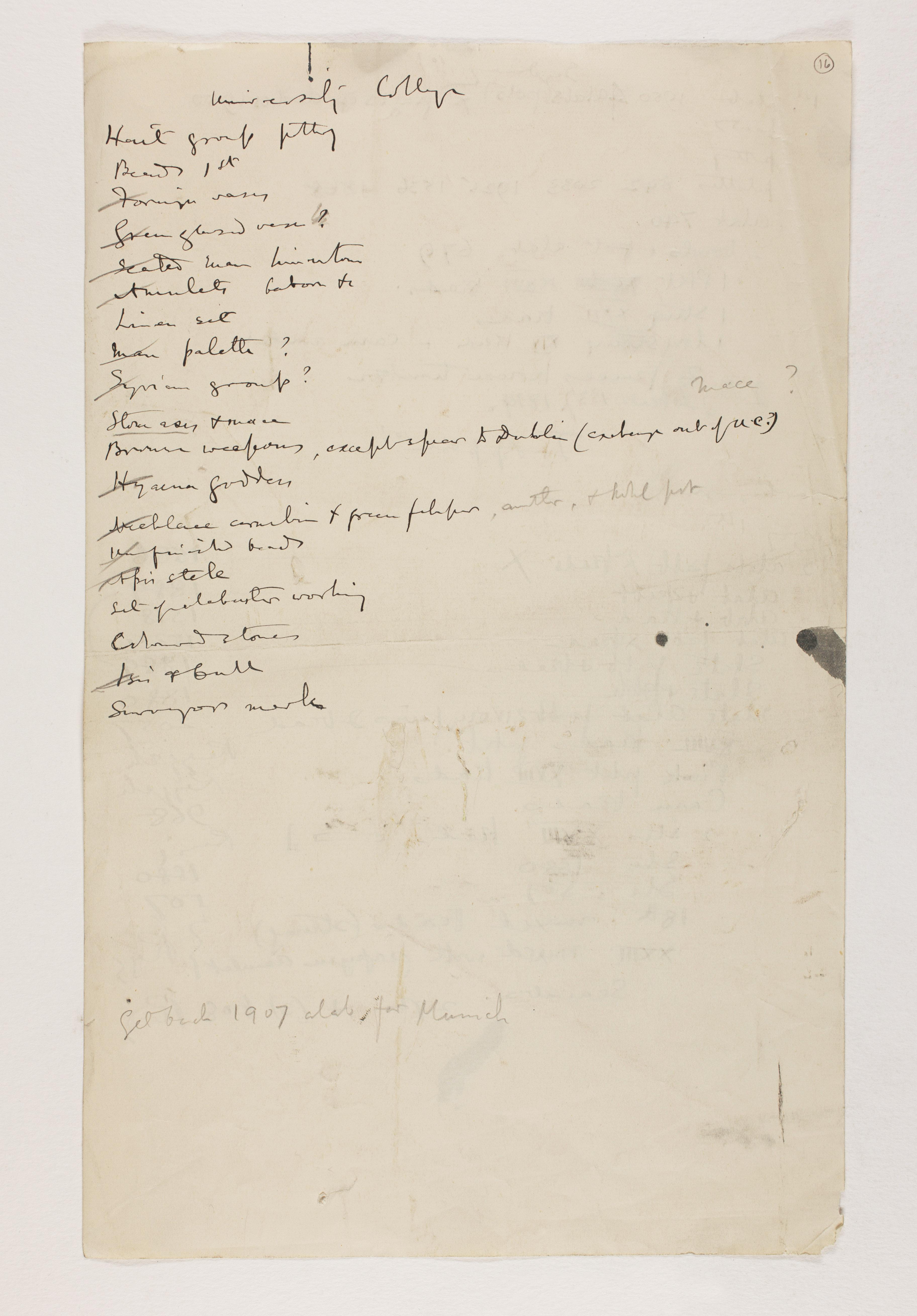1912-13 Tarkhan, el-Riqqa, Memphis Multiple institution list PMA/WFP1/D/21/16.2