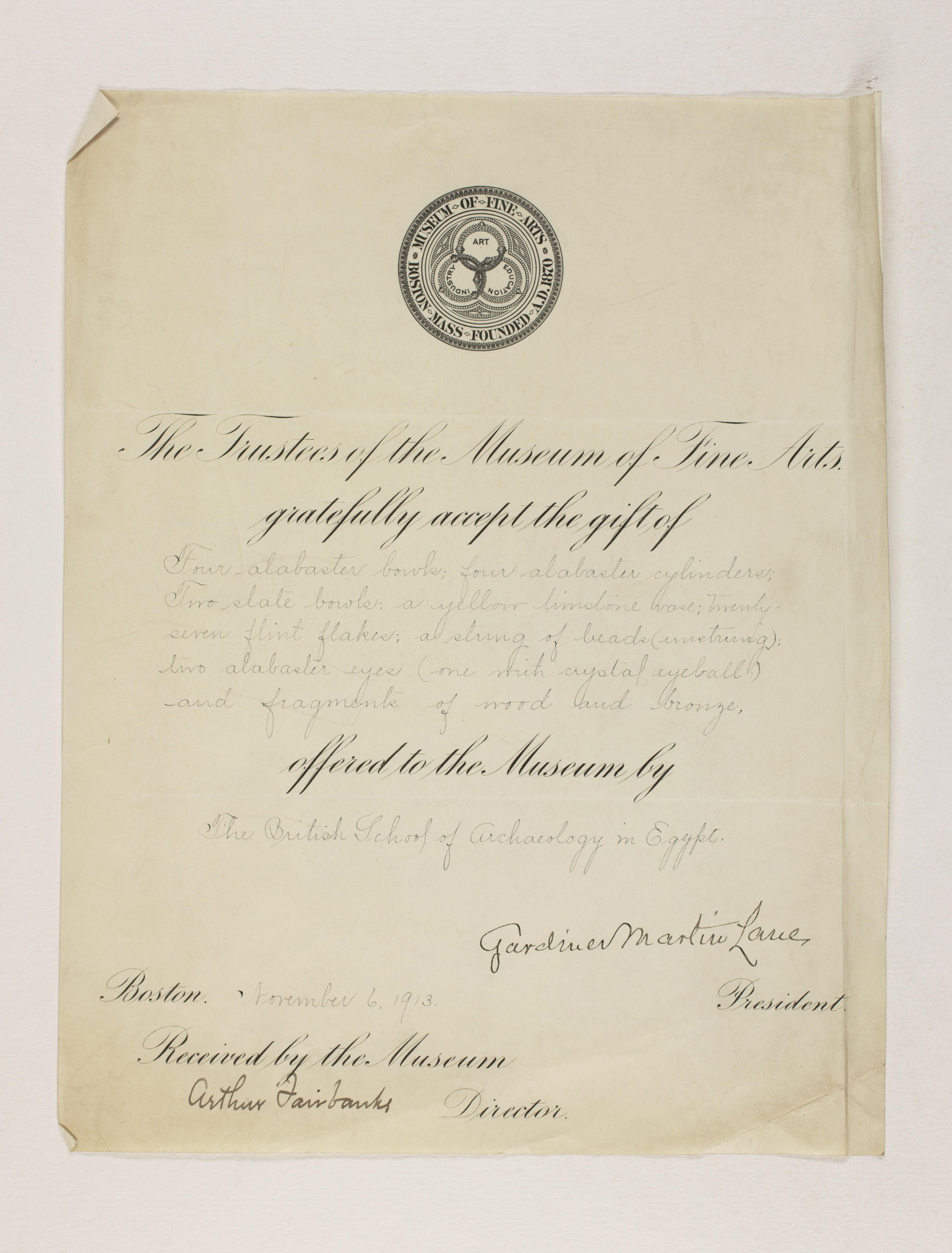 1912-13 Tarkhan, el-Riqqa, Memphis Receipt from institution  PMA/WFP1/D/21/20