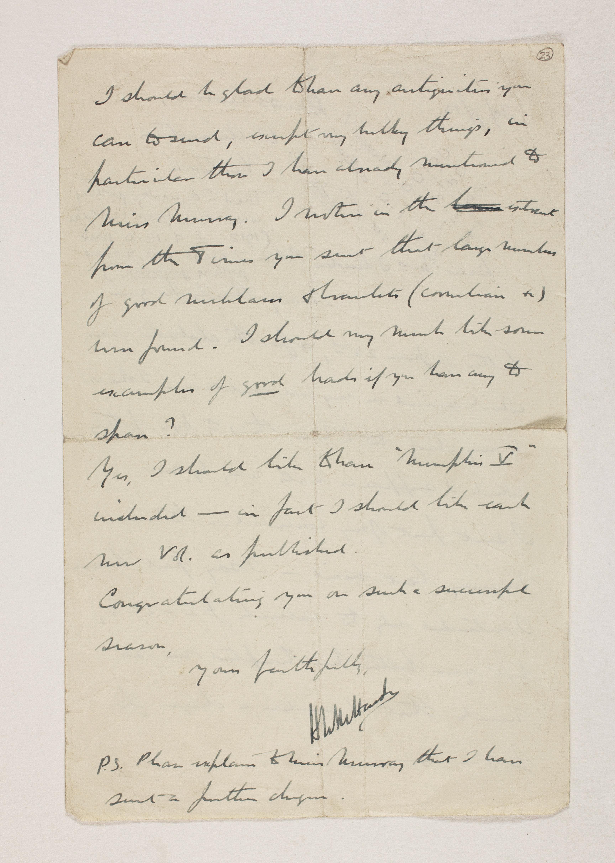 1912-13 Tarkhan, el-Riqqa, Memphis Correspondence PMA/WFP1/D/21/22.2