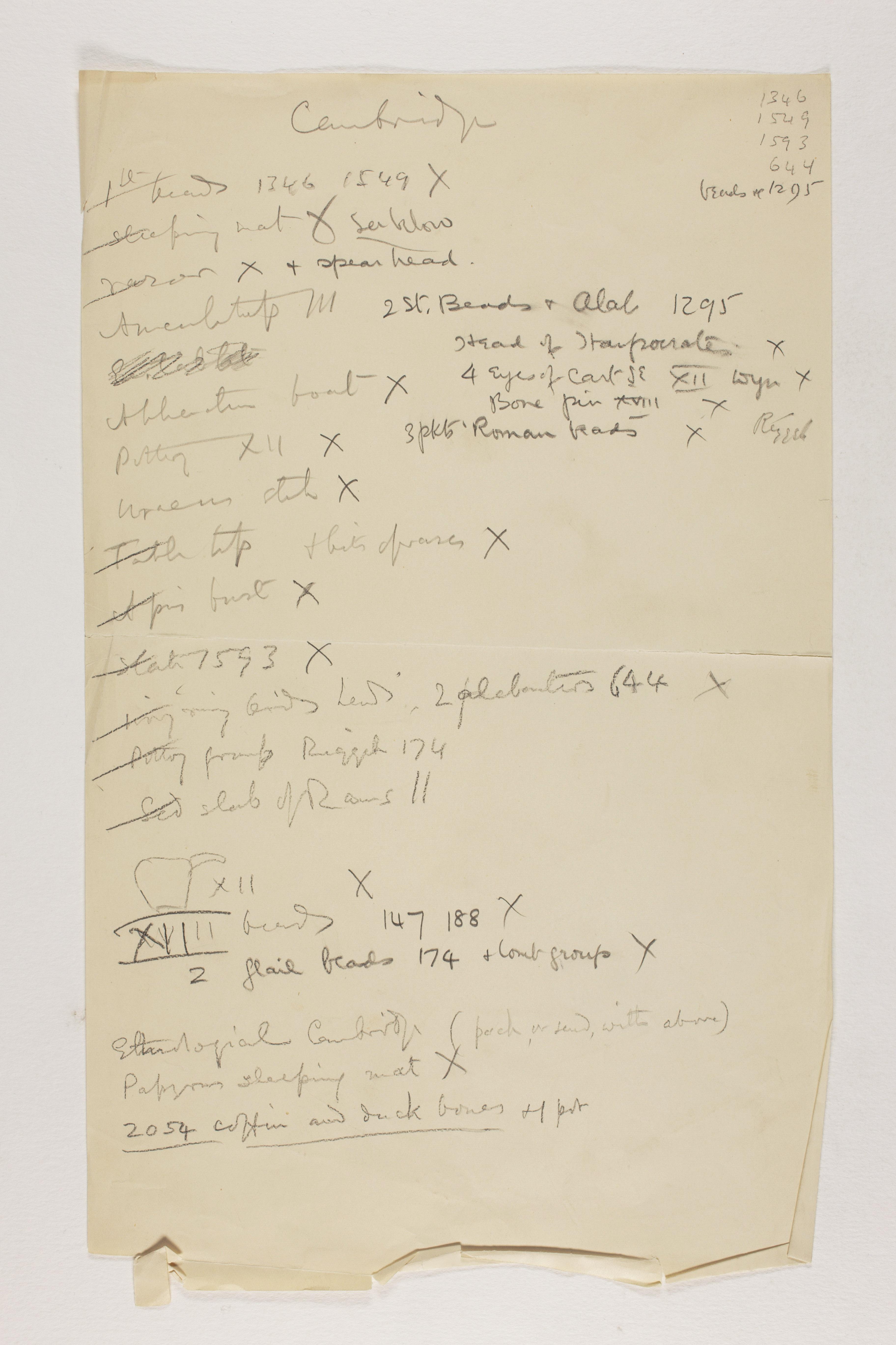 1912-13 Tarkhan, el-Riqqa, Memphis Individual institution list  PMA/WFP1/D/21/4