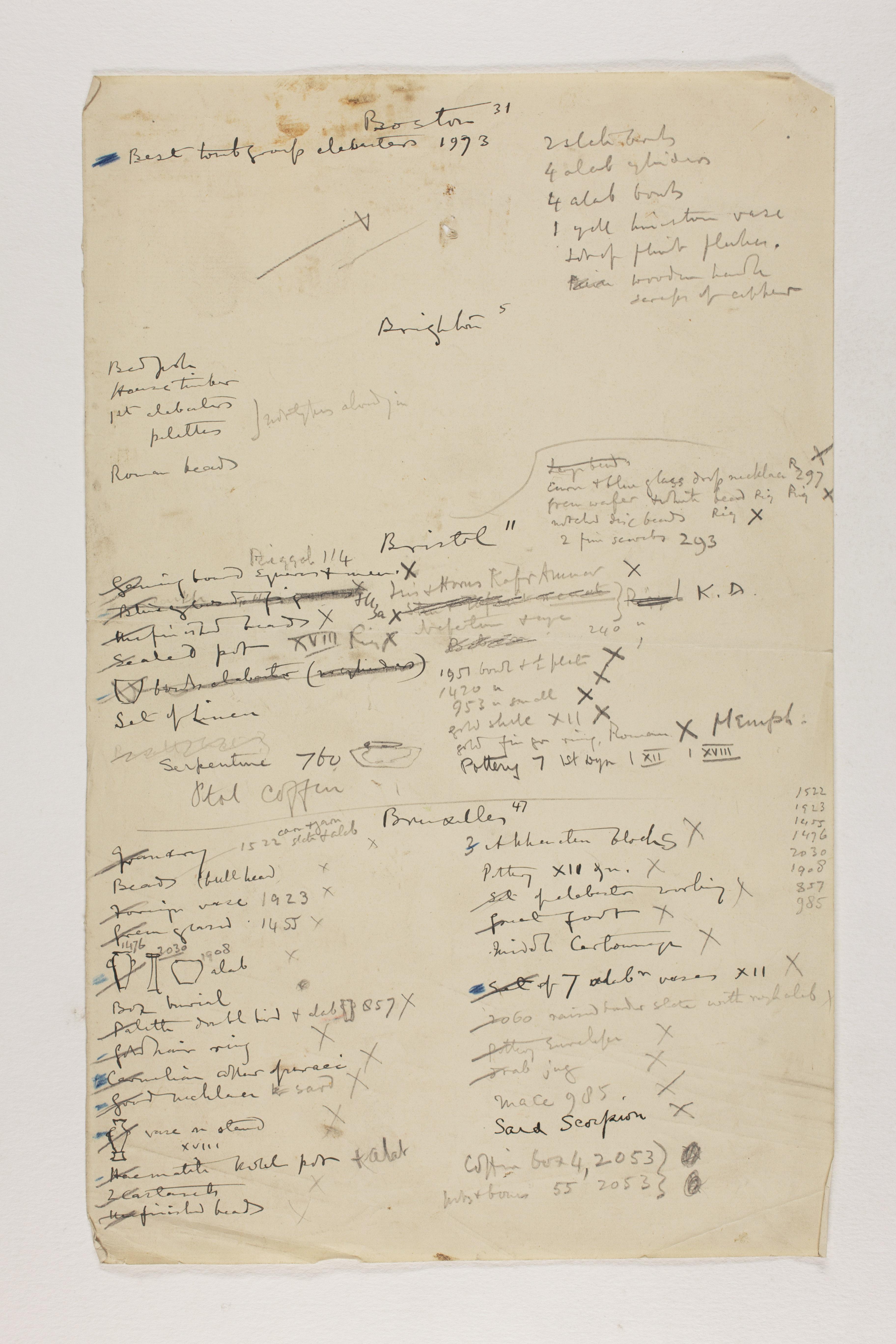 1912-13 Tarkhan, el-Riqqa, Memphis Multiple institution list PMA/WFP1/D/21/6