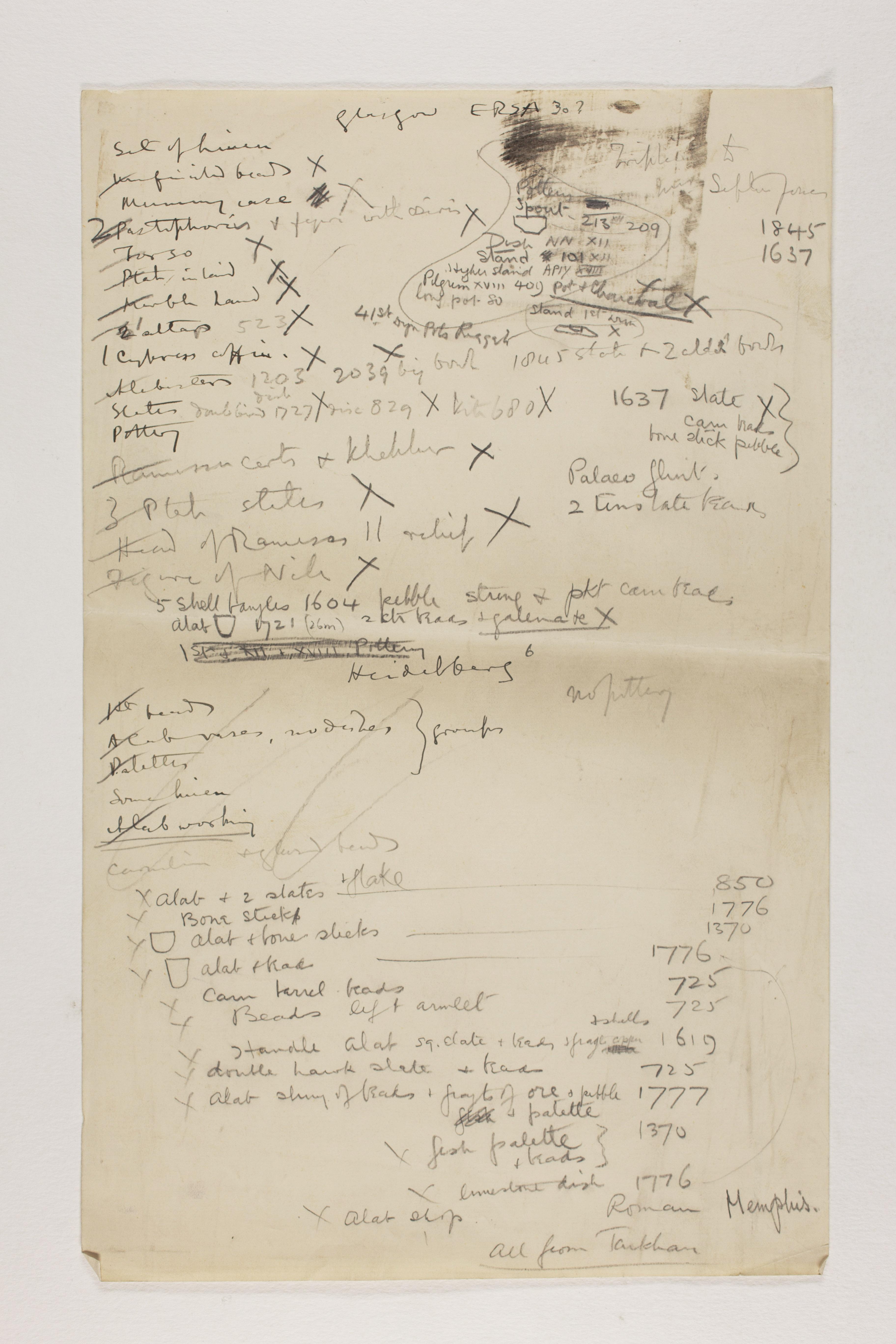1912-13 Tarkhan, el-Riqqa, Memphis Multiple institution list PMA/WFP1/D/21/9
