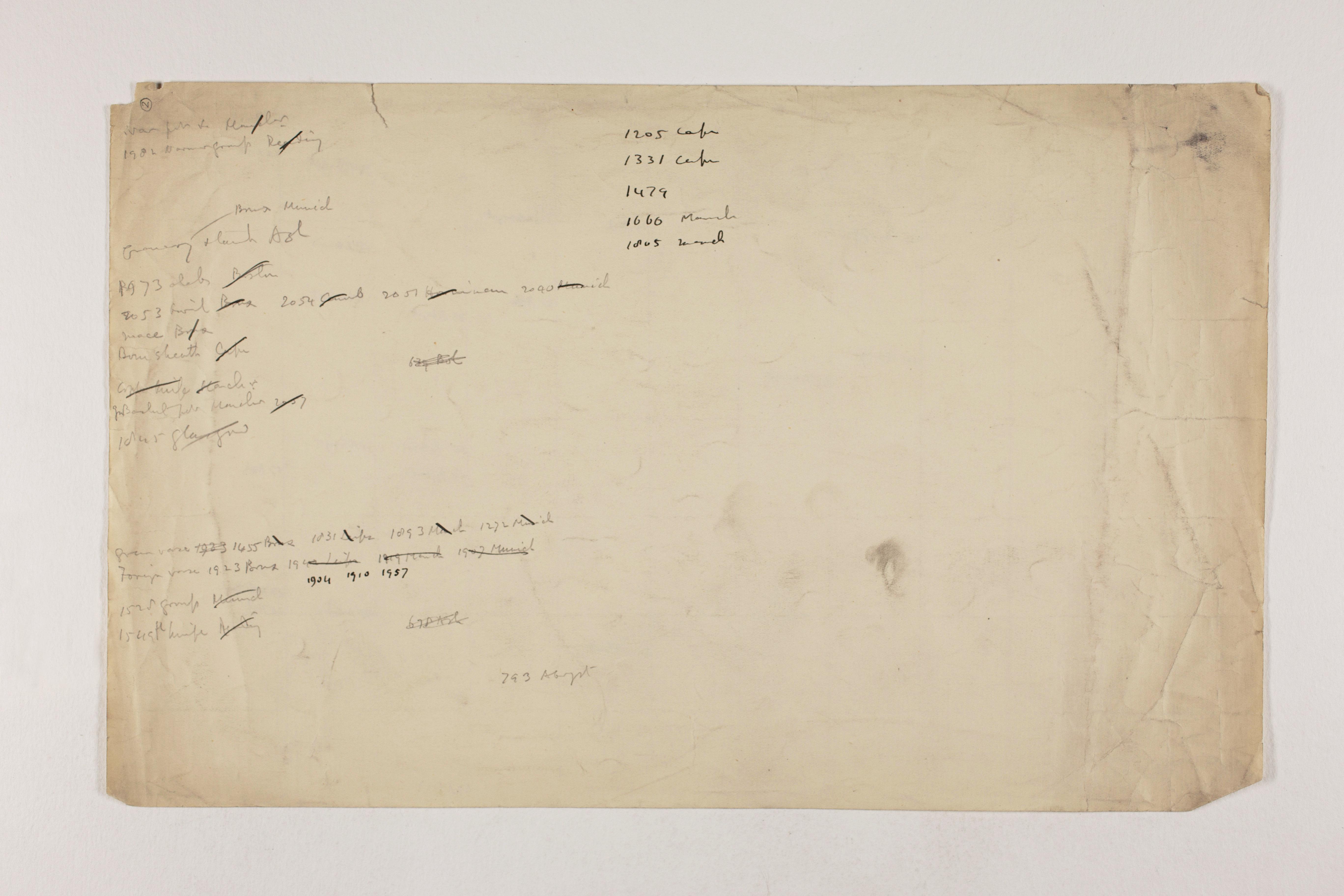 1913-14 Lahun, Haraga Object list PMA/WFP1/D/22/2.2