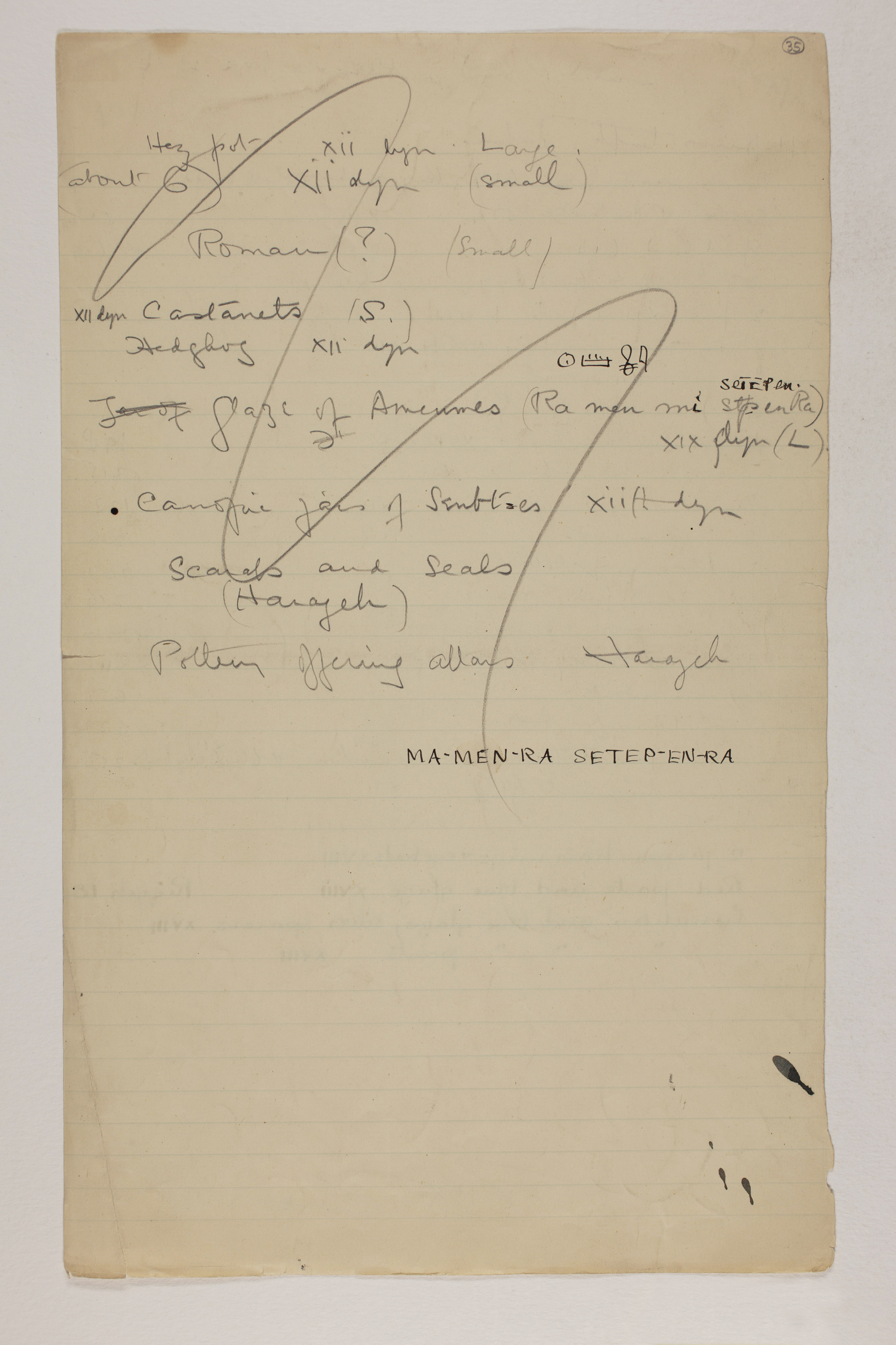 1913-14 Lahun, Haraga Individual institution list  PMA/WFP1/D/22/35.2