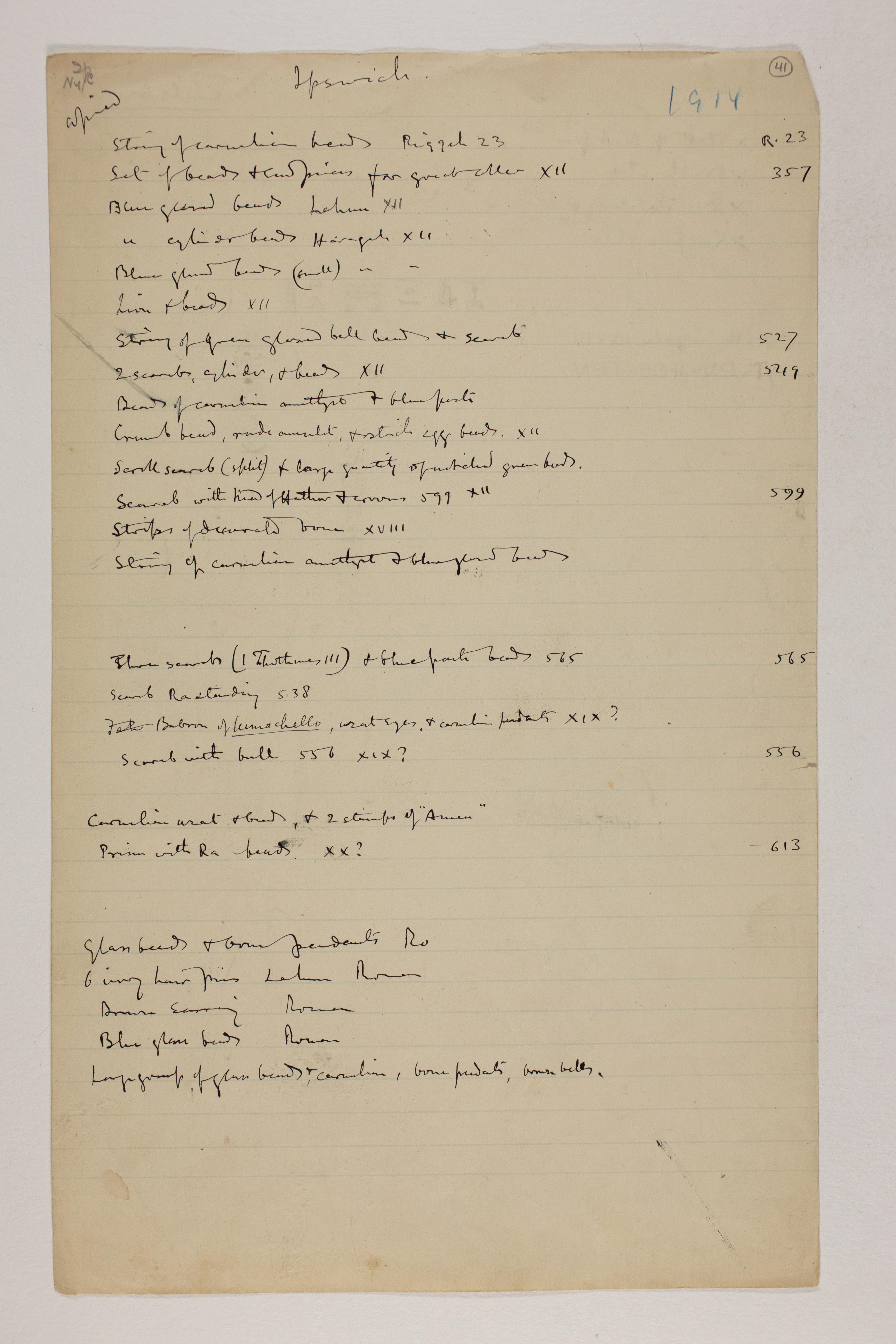 1913-14 Lahun, Haraga Individual institution list  PMA/WFP1/D/22/41.1