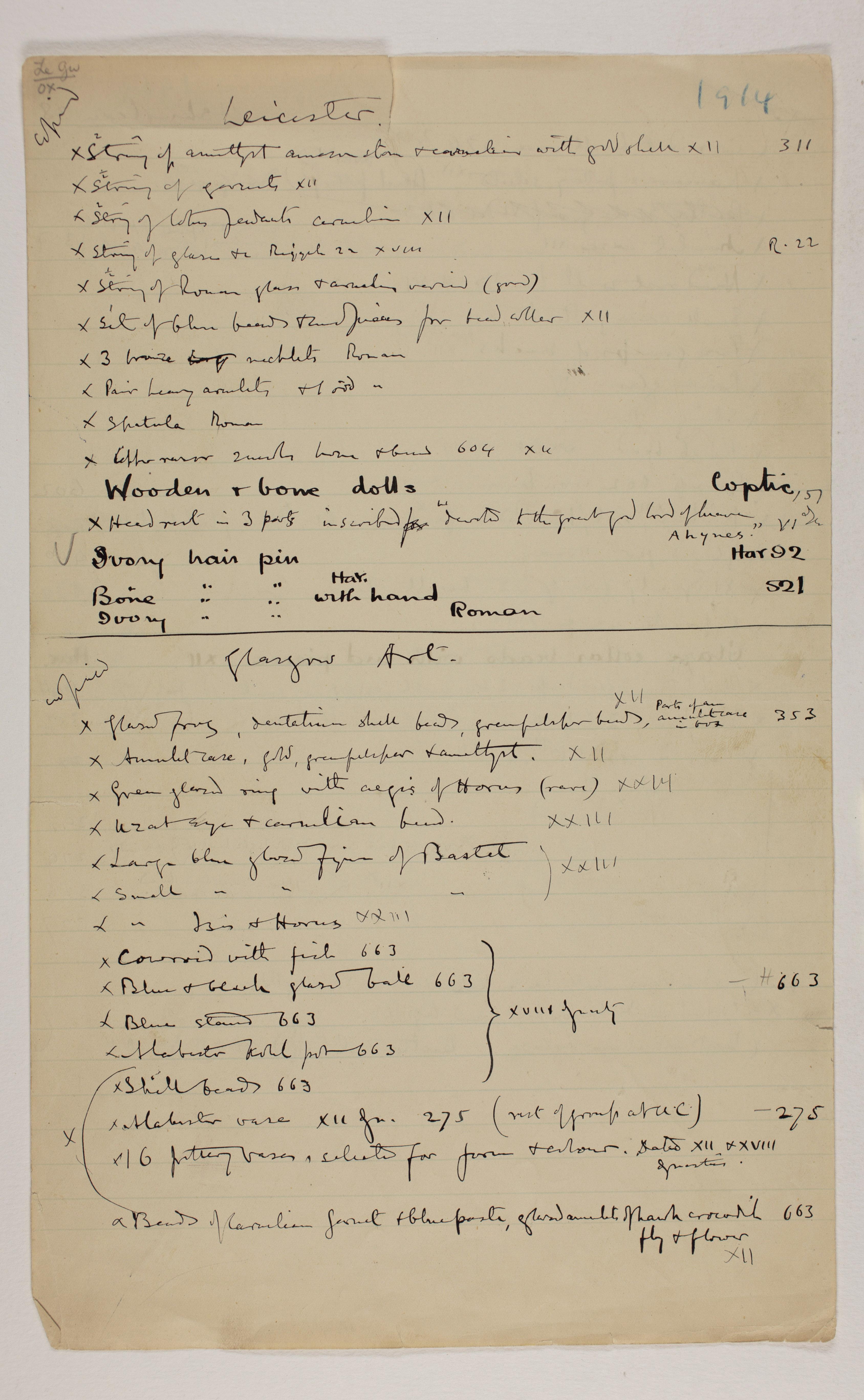 1913-14 Lahun, Haraga Individual institution list  PMA/WFP1/D/22/45.2