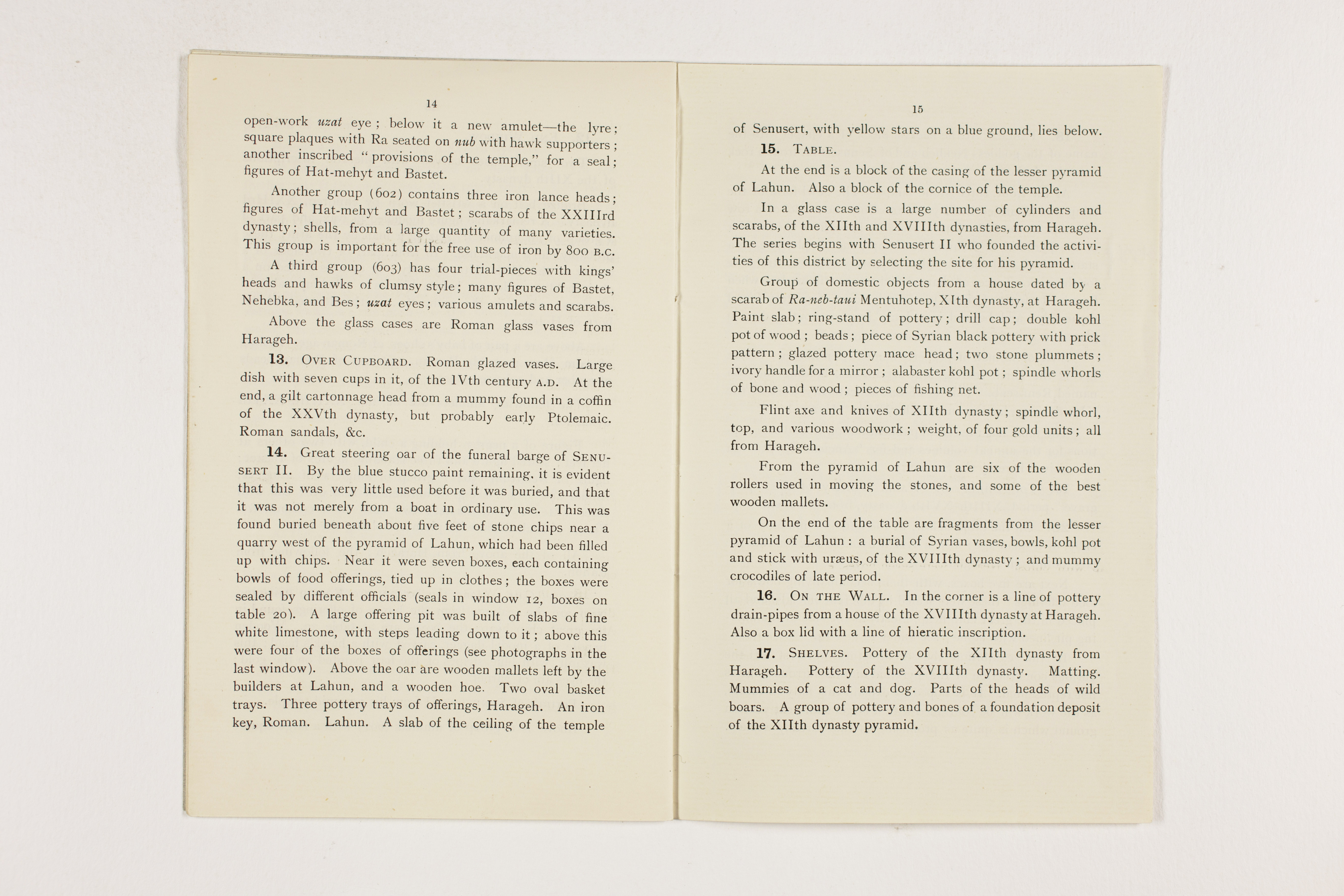 1913-14 Lahun, Haraga Exhibition catalogue PMA/WFP1/D/22/49.9