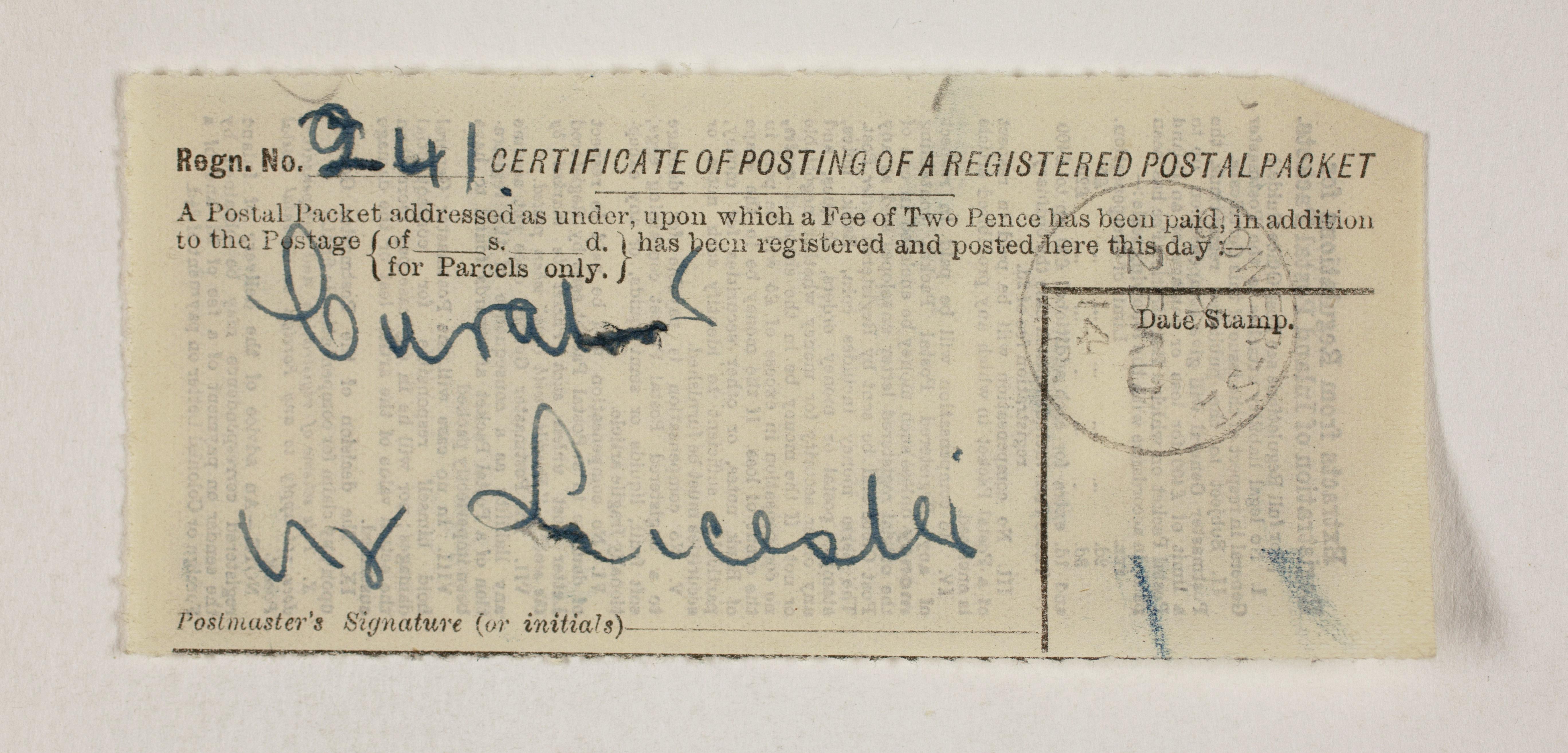 1913-14 Lahun, Haraga Mailing label PMA/WFP1/D/22/50.38