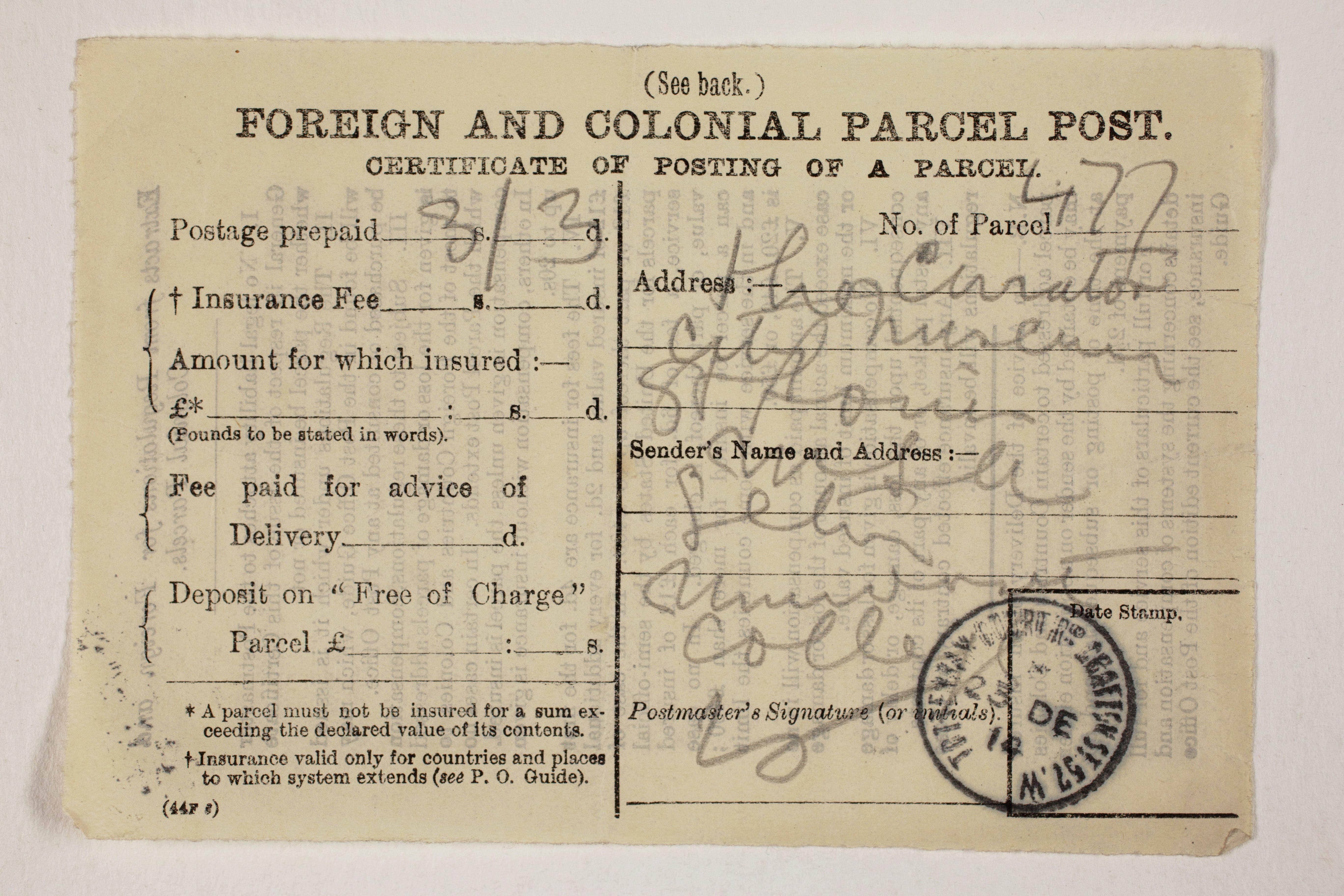 1913-14 Lahun, Haraga Mailing label PMA/WFP1/D/22/50.8
