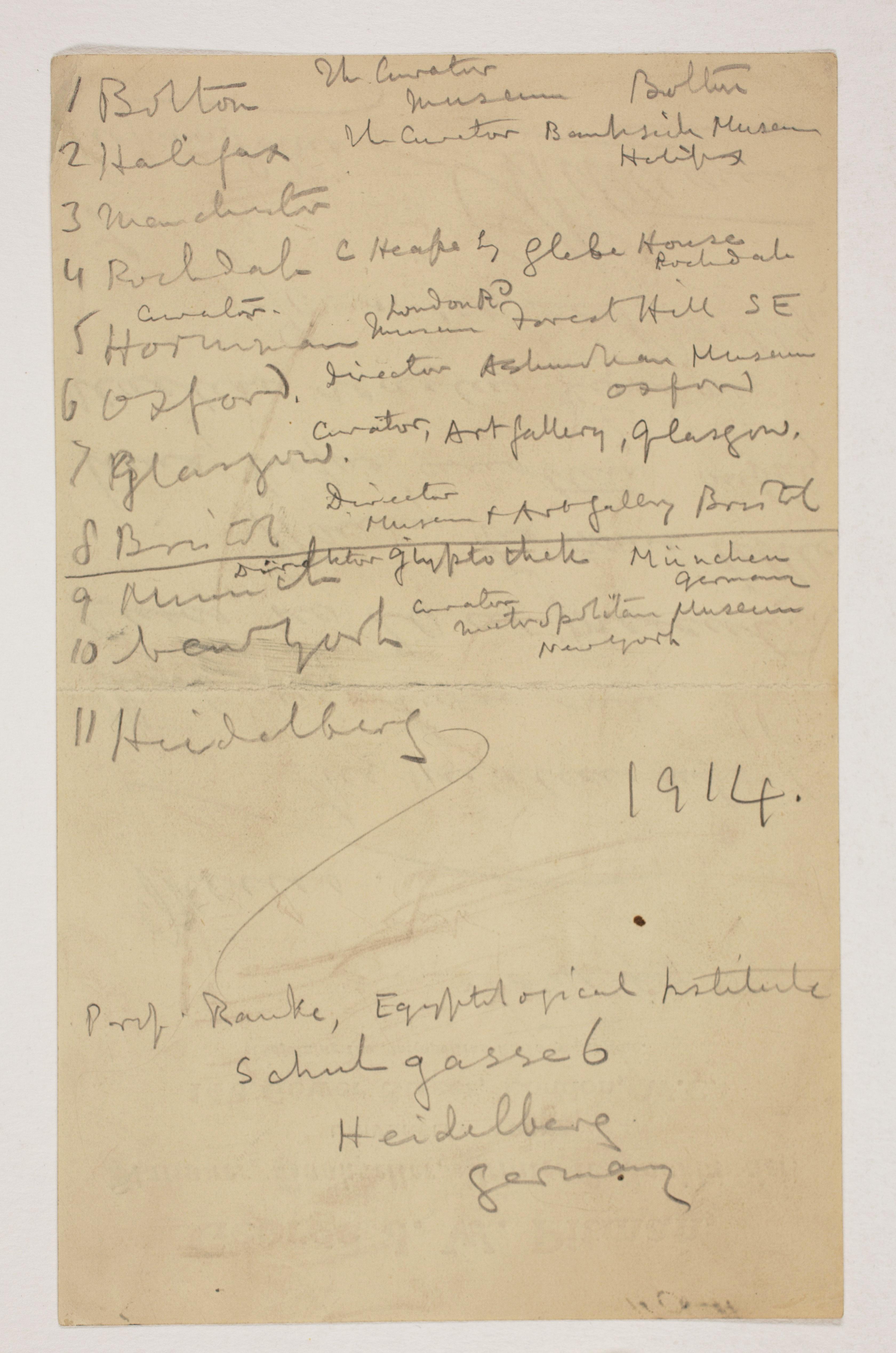 1913-14 Lahun, Haraga Distribution list PMA/WFP1/D/22/7.1