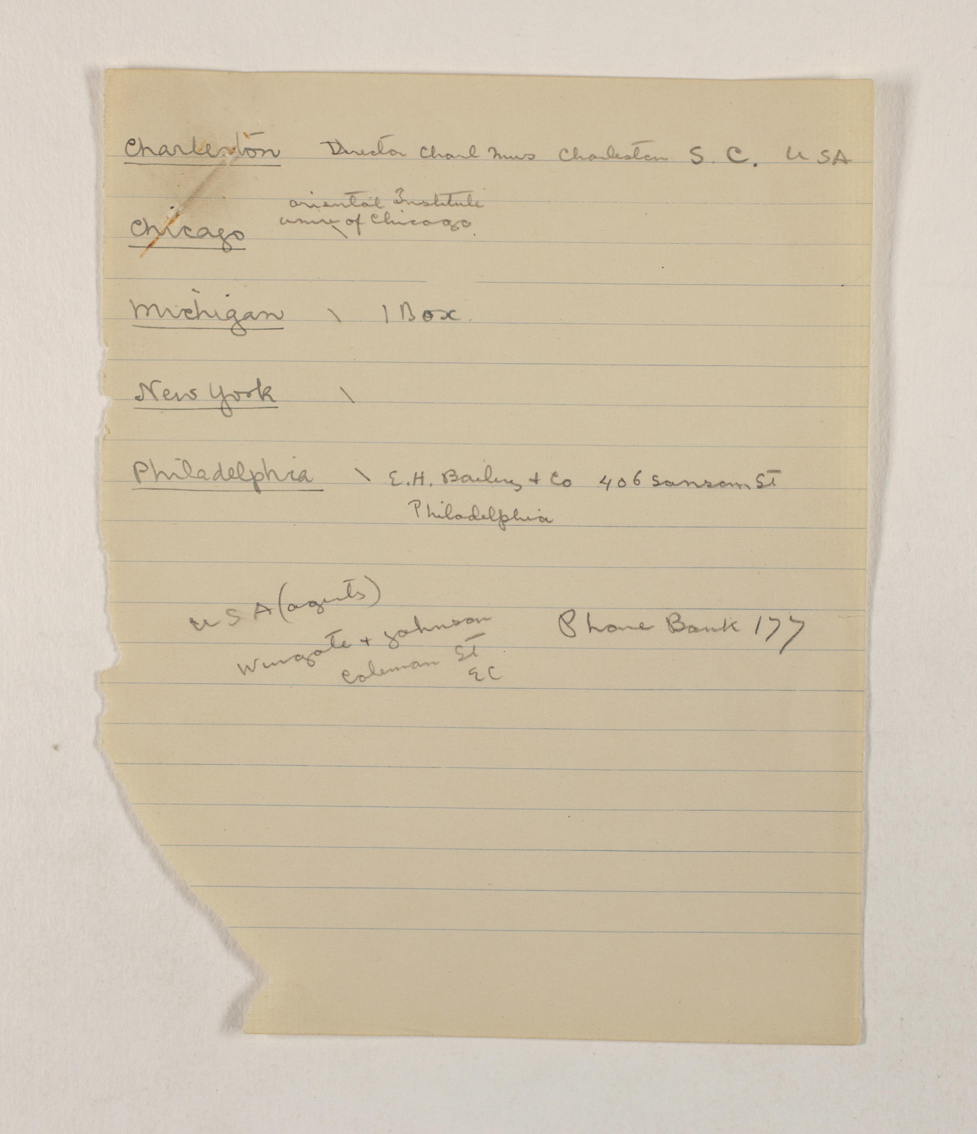 1919-21 Sedment, Lahun Distribution list PMA/WFP1/D/24/13.1