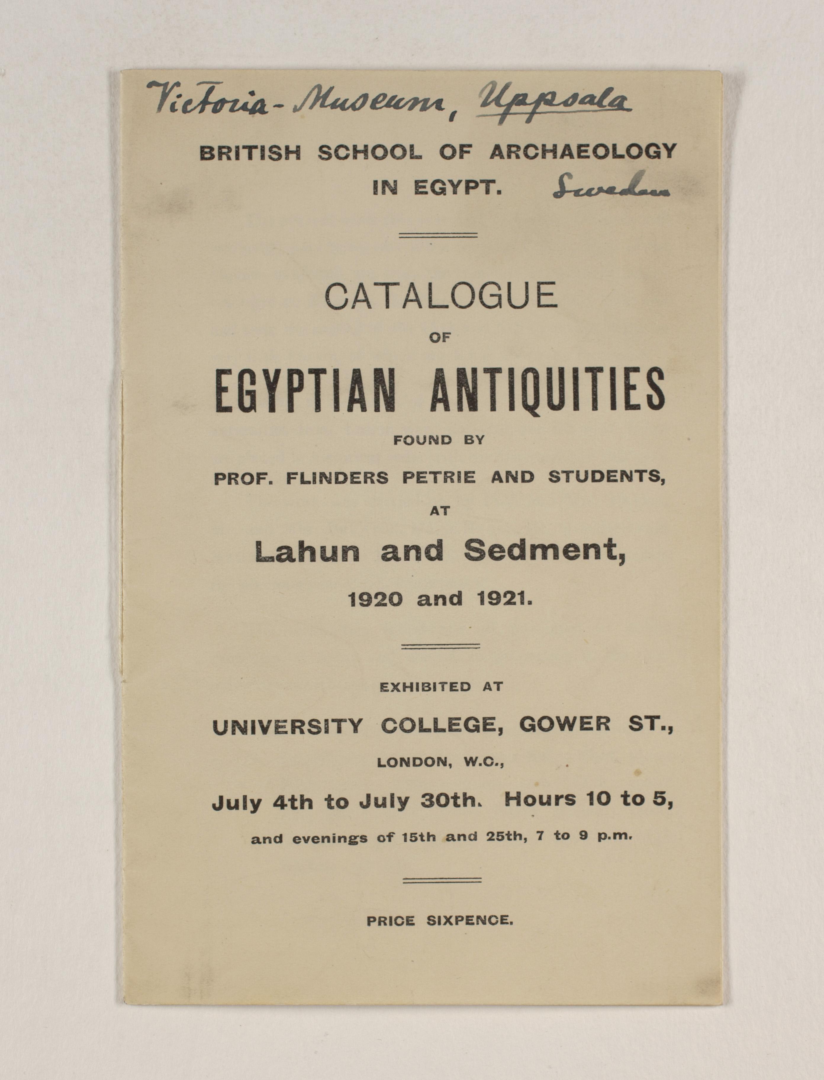 1919-21 Sedment, Lahun Exhibition catalogue PMA/WFP1/D/24/48.1