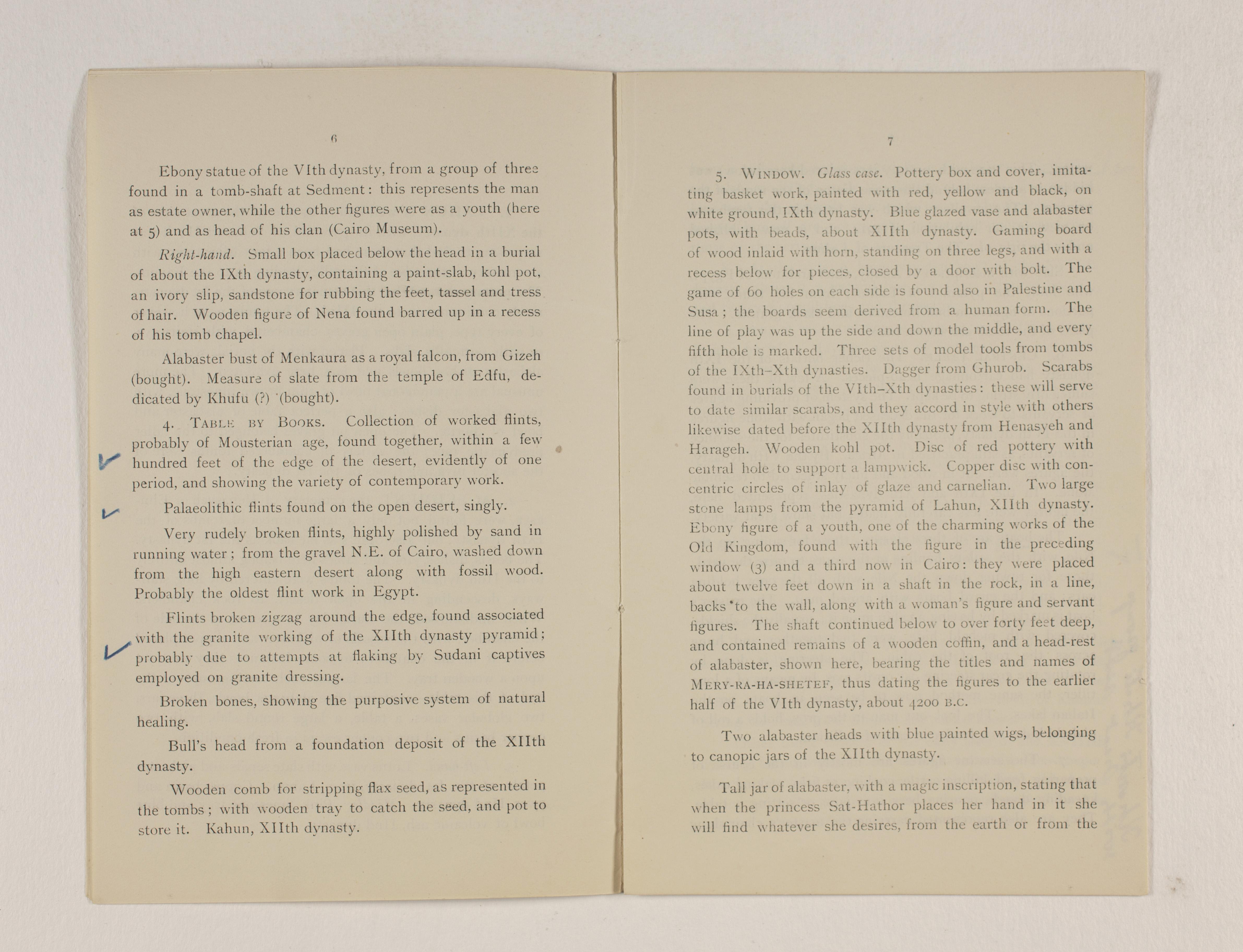 1919-21 Sedment, Lahun Exhibition catalogue PMA/WFP1/D/24/48.4