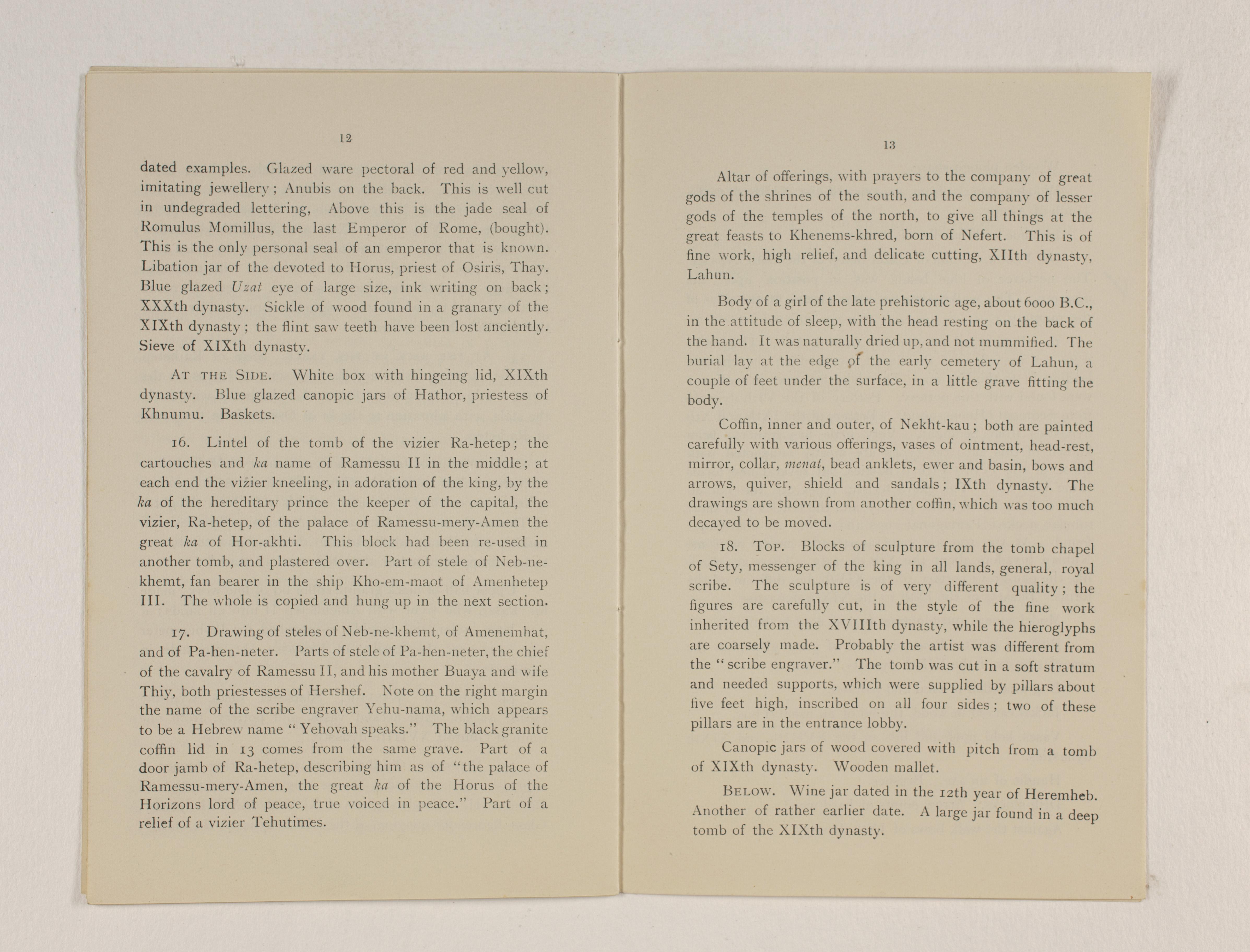 1919-21 Sedment, Lahun Exhibition catalogue PMA/WFP1/D/24/48.6