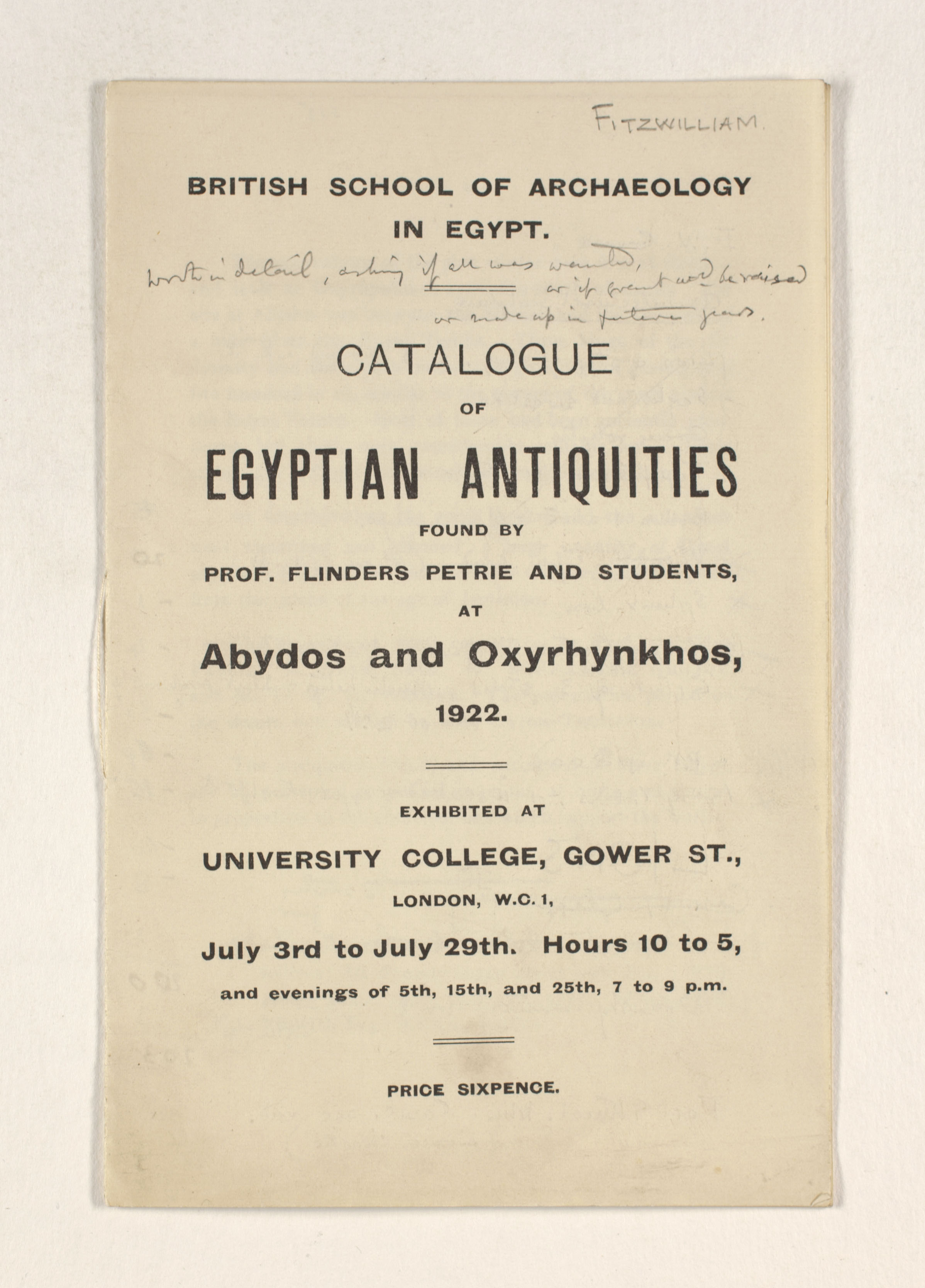 1921-22 Abydos, Oxyrhynchus Exhibition catalogue PMA/WFP1/D/25/19.1