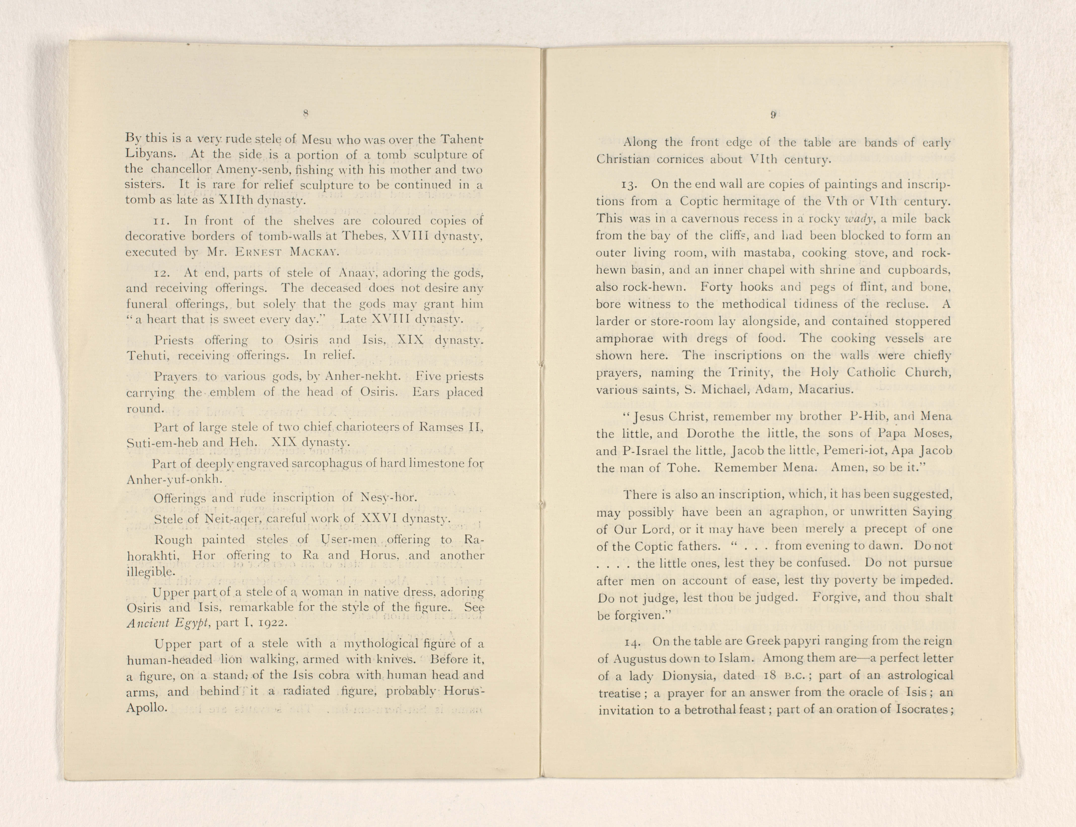 1921-22 Abydos, Oxyrhynchus Exhibition catalogue PMA/WFP1/D/25/19.5