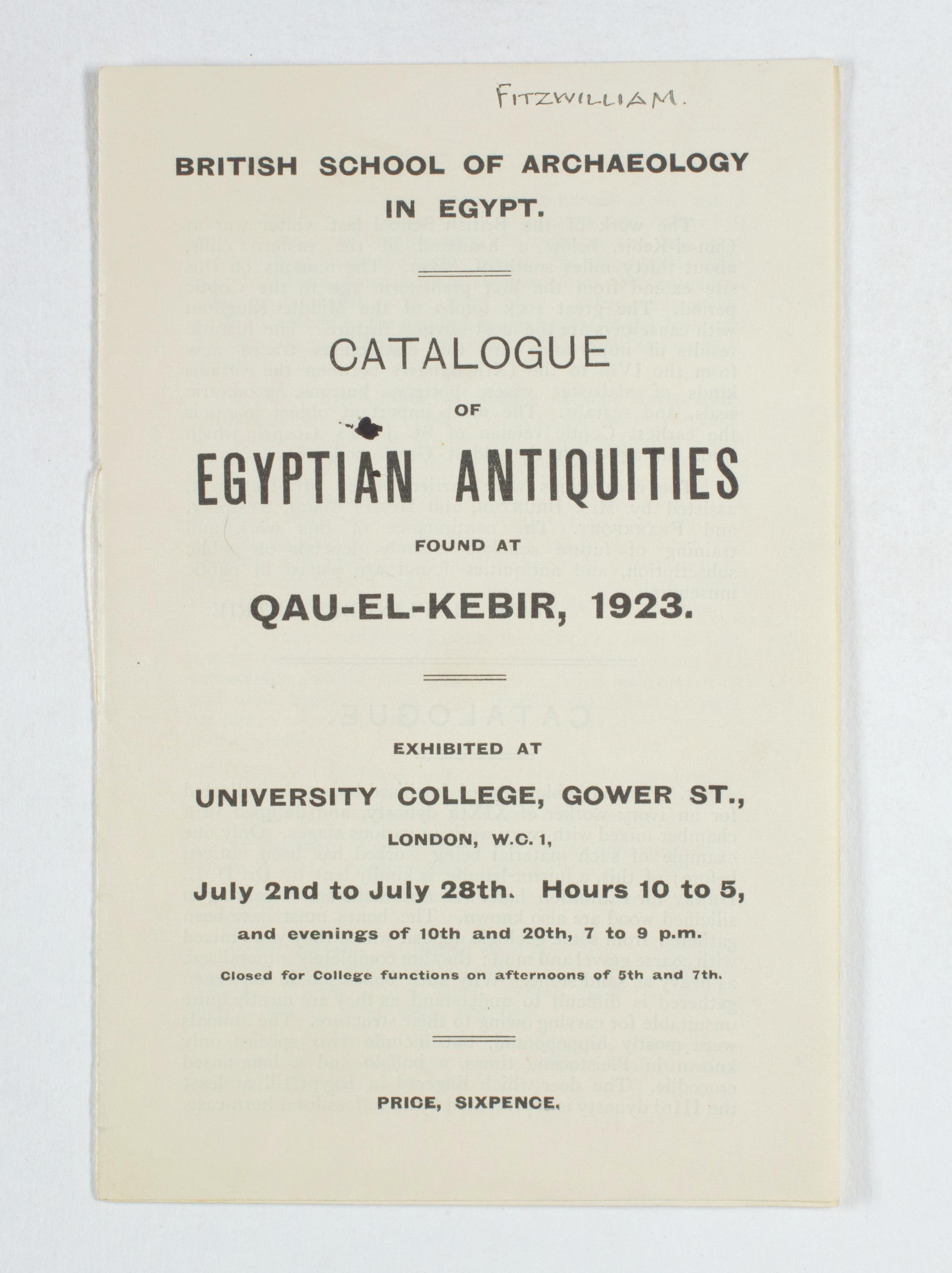 1922-23 Qau el-Kebir Exhibition catalogue PMA/WFP1/D/26/27.1