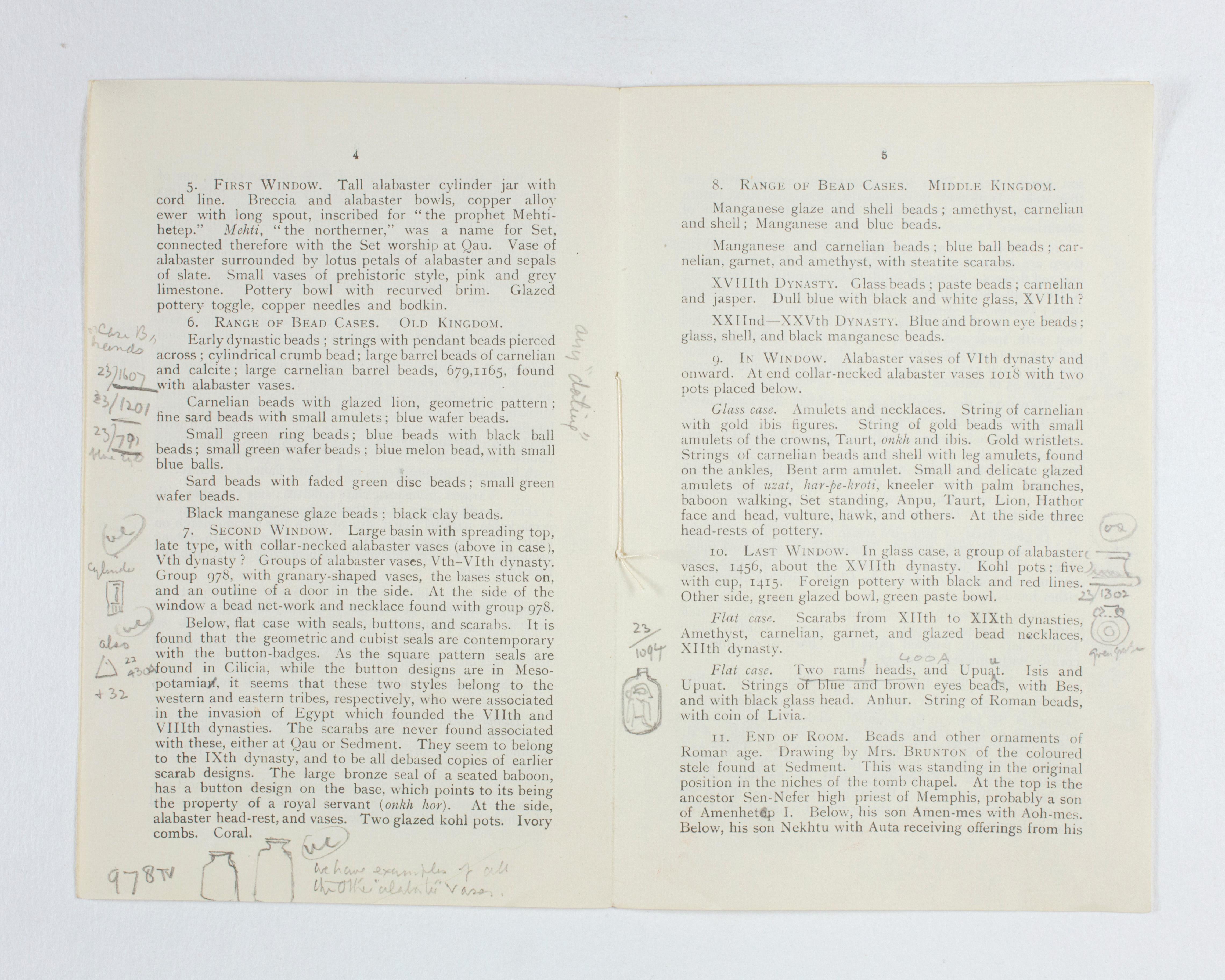 1922-23 Qau el-Kebir Exhibition catalogue PMA/WFP1/D/26/27.3