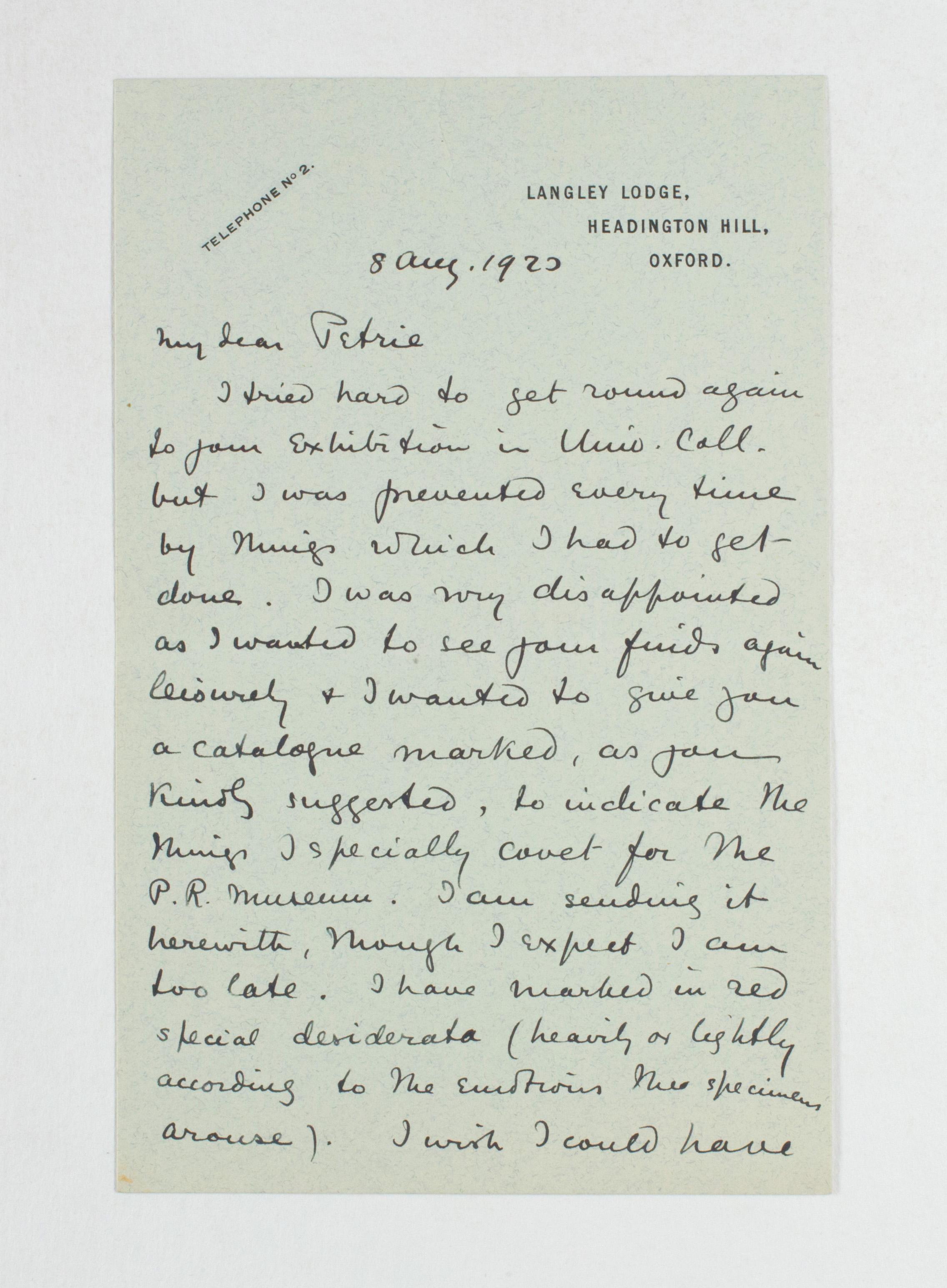 1922-23 Qau el-Kebir Correspondence PMA/WFP1/D/26/30.1
