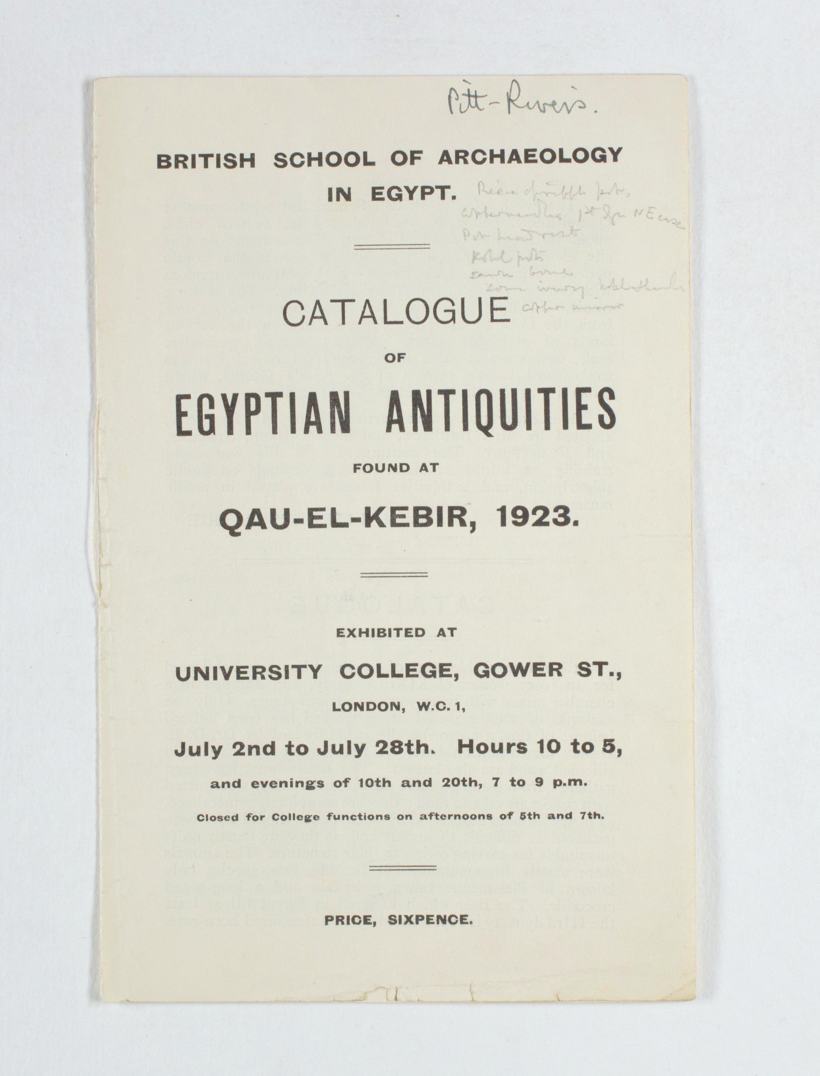 1922-23 Qau el-Kebir Exhibition catalogue PMA/WFP1/D/26/30.3
