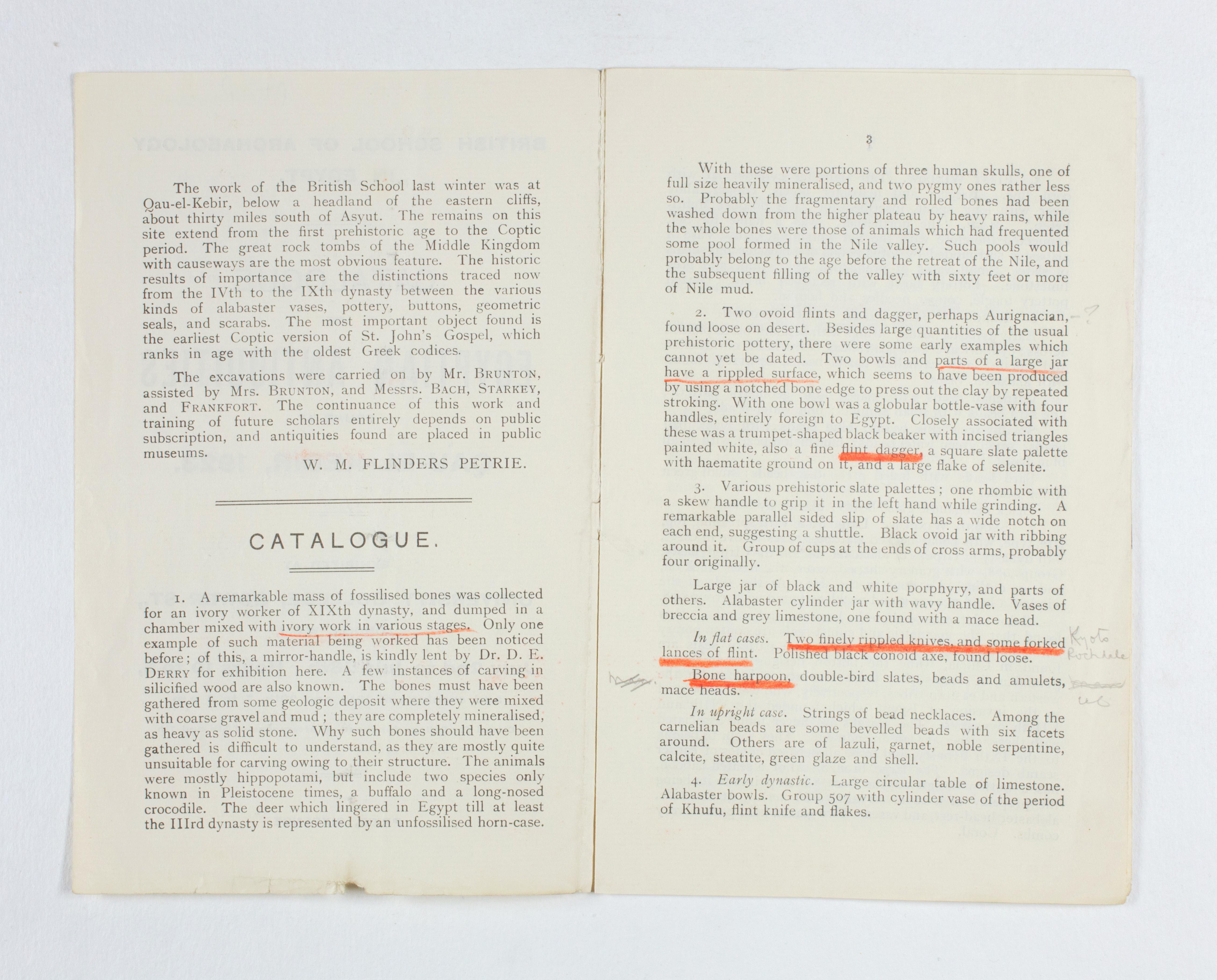 1922-23 Qau el-Kebir Exhibition catalogue PMA/WFP1/D/26/30.4