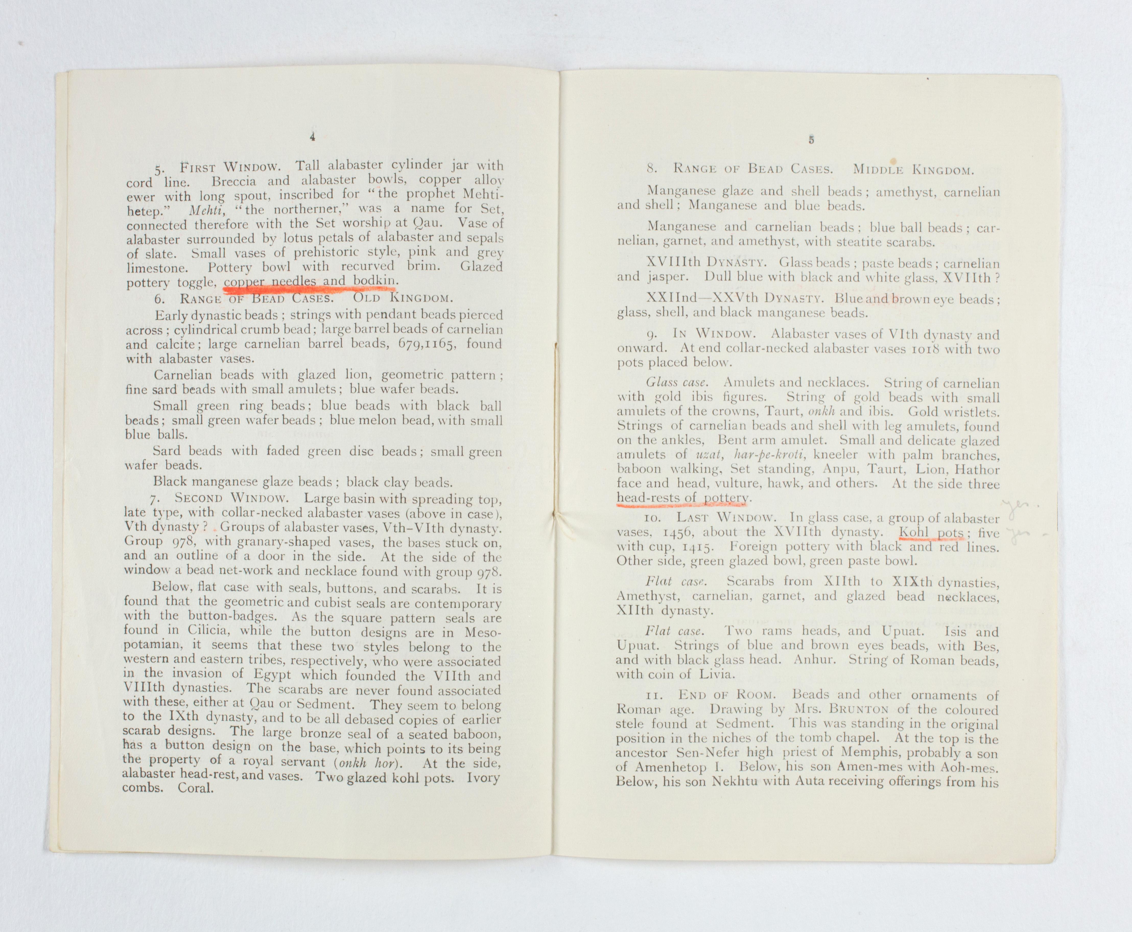 1922-23 Qau el-Kebir Exhibition catalogue PMA/WFP1/D/26/30.5