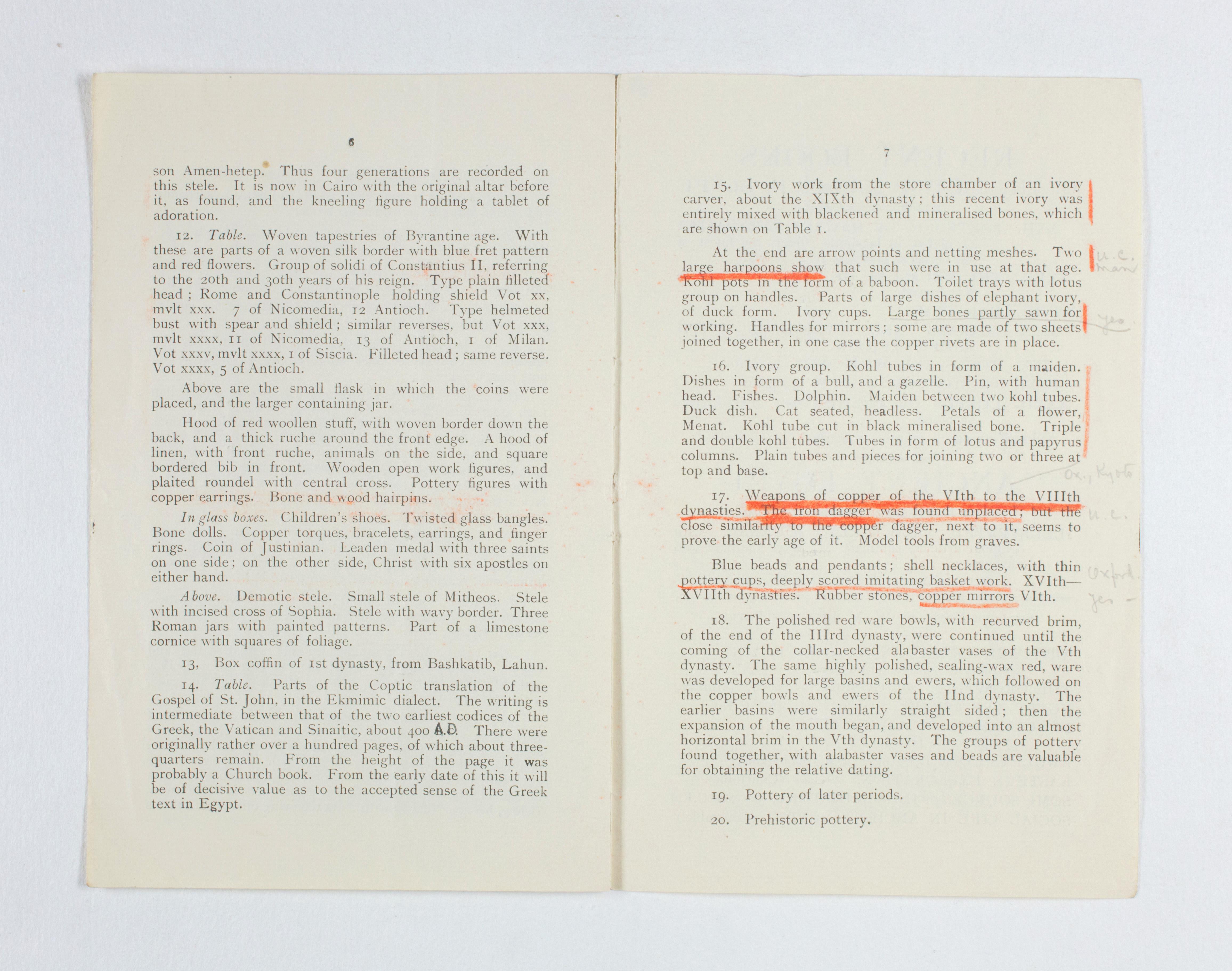1922-23 Qau el-Kebir Exhibition catalogue PMA/WFP1/D/26/30.6
