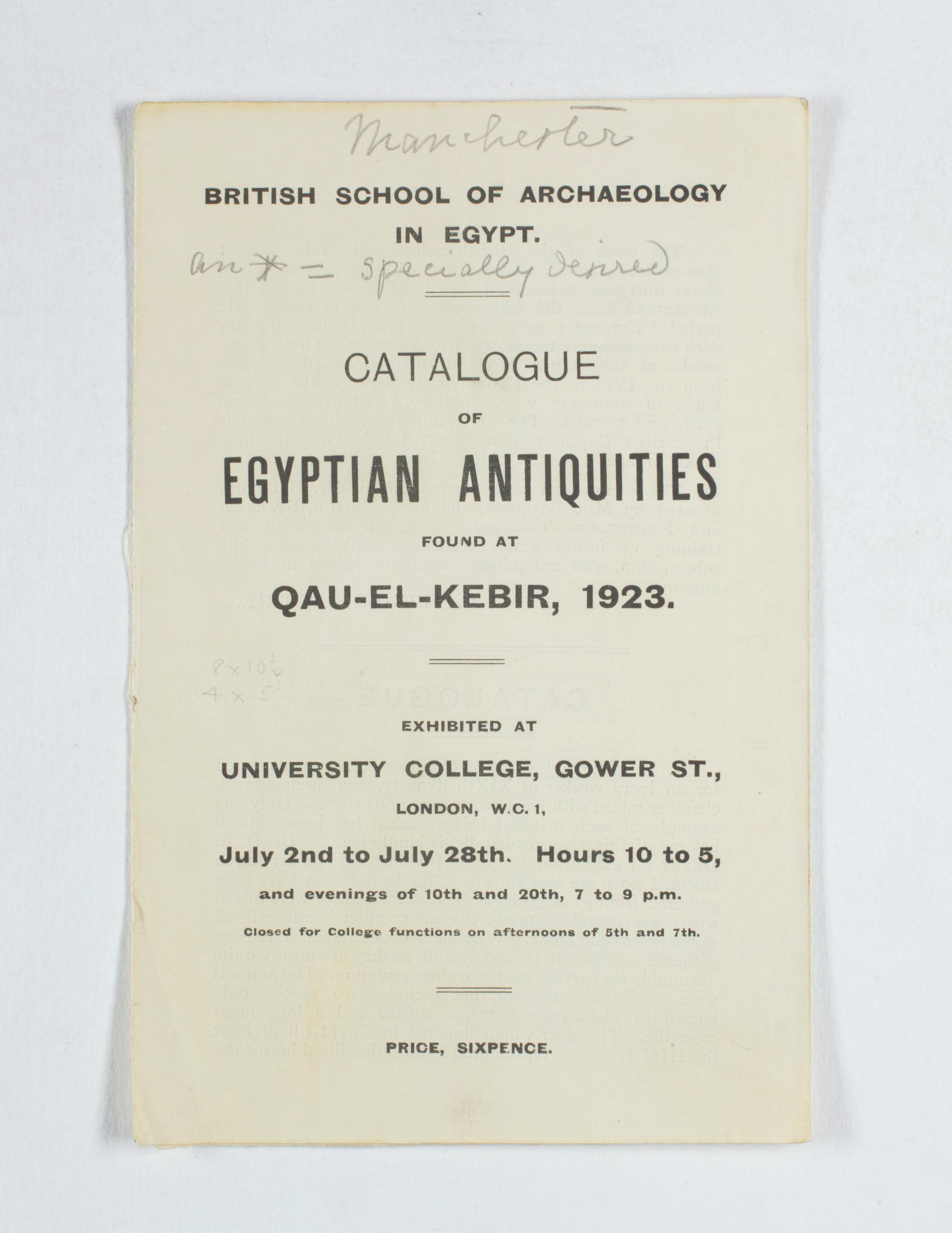 1922-23 Qau el-Kebir Exhibition catalogue PMA/WFP1/D/26/31.1
