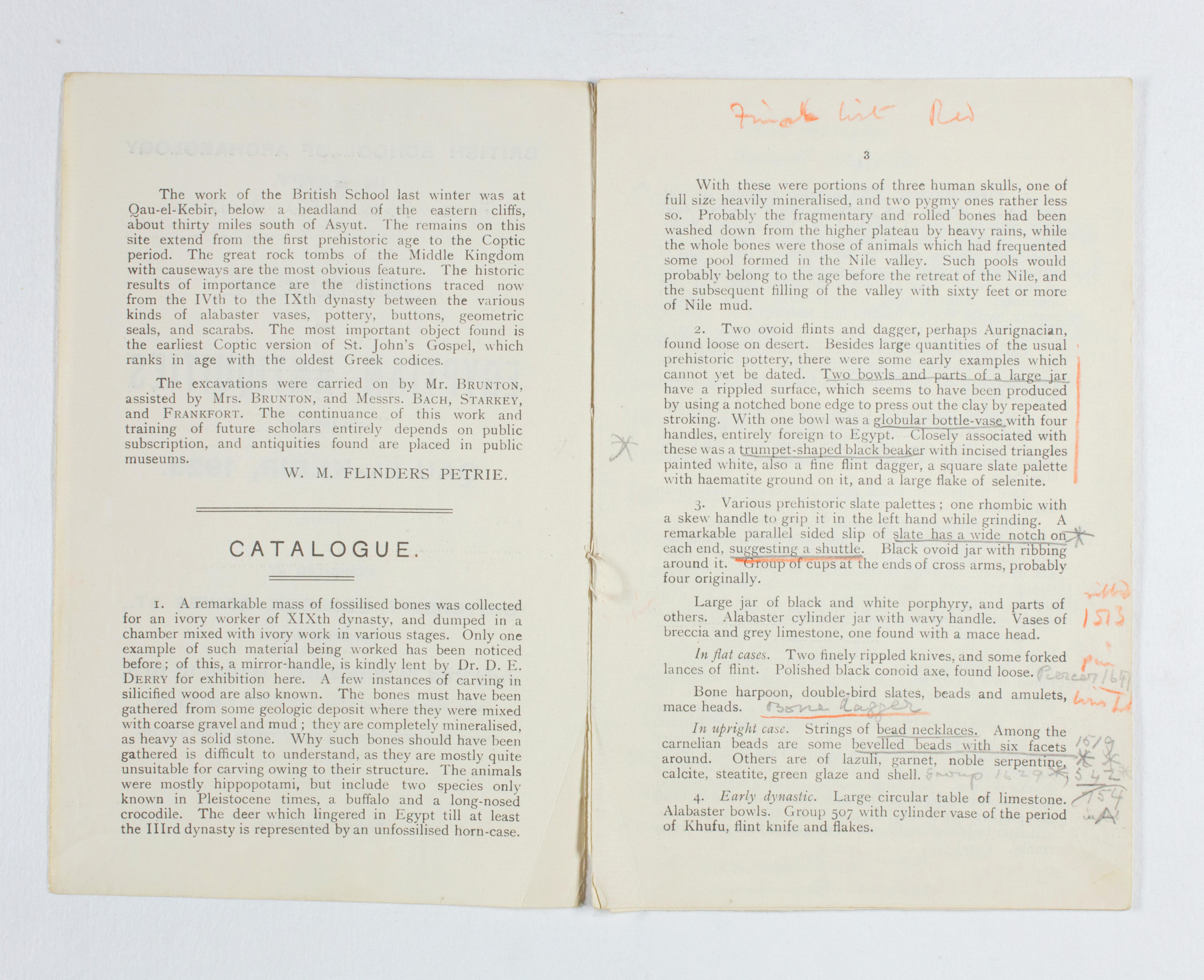 1922-23 Qau el-Kebir  Exhibition catalogue PMA /WFP1/D/26/31.2