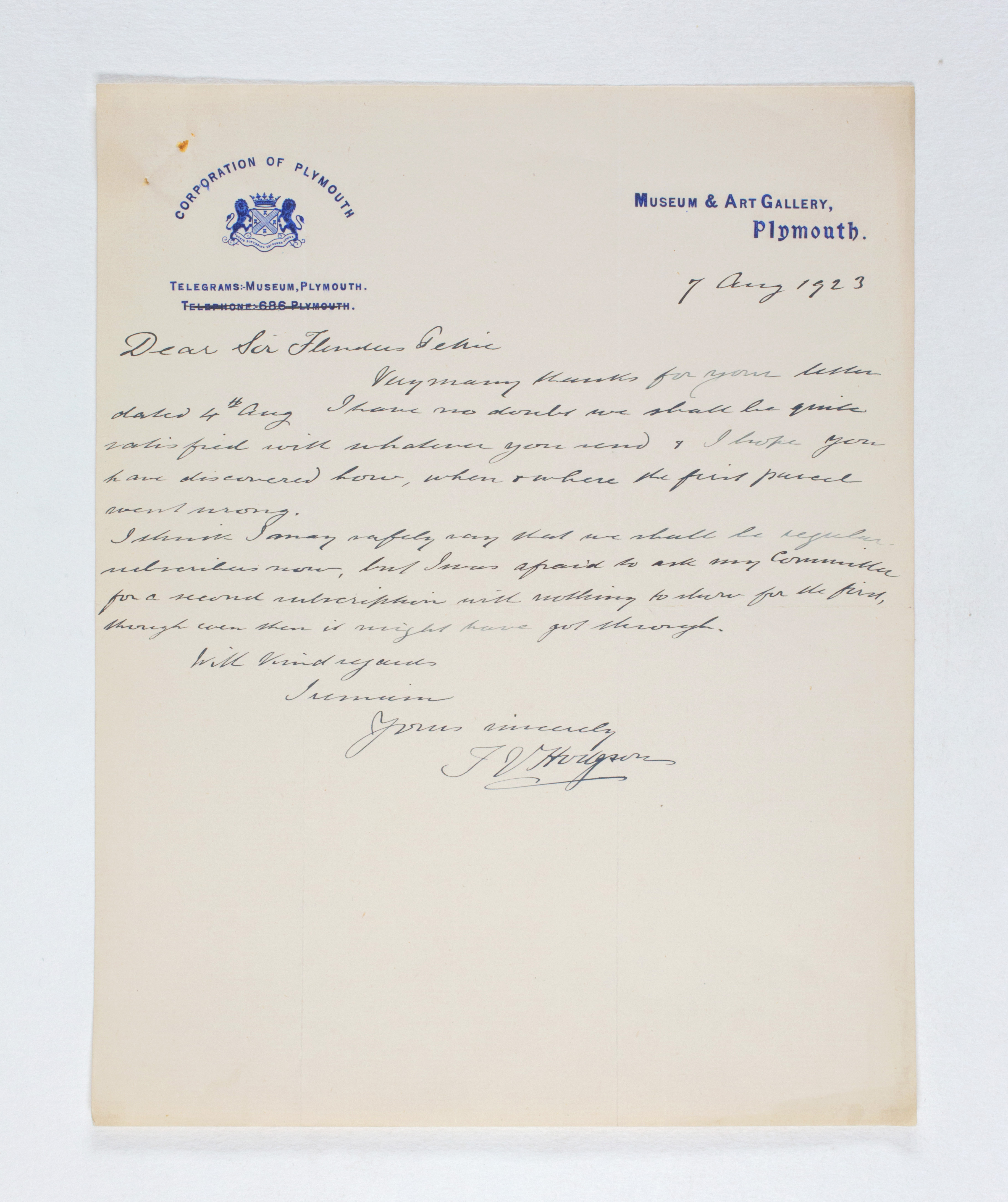 1922-23 Qau el-Kebir Correspondence PMA/WFP1/D/26/38