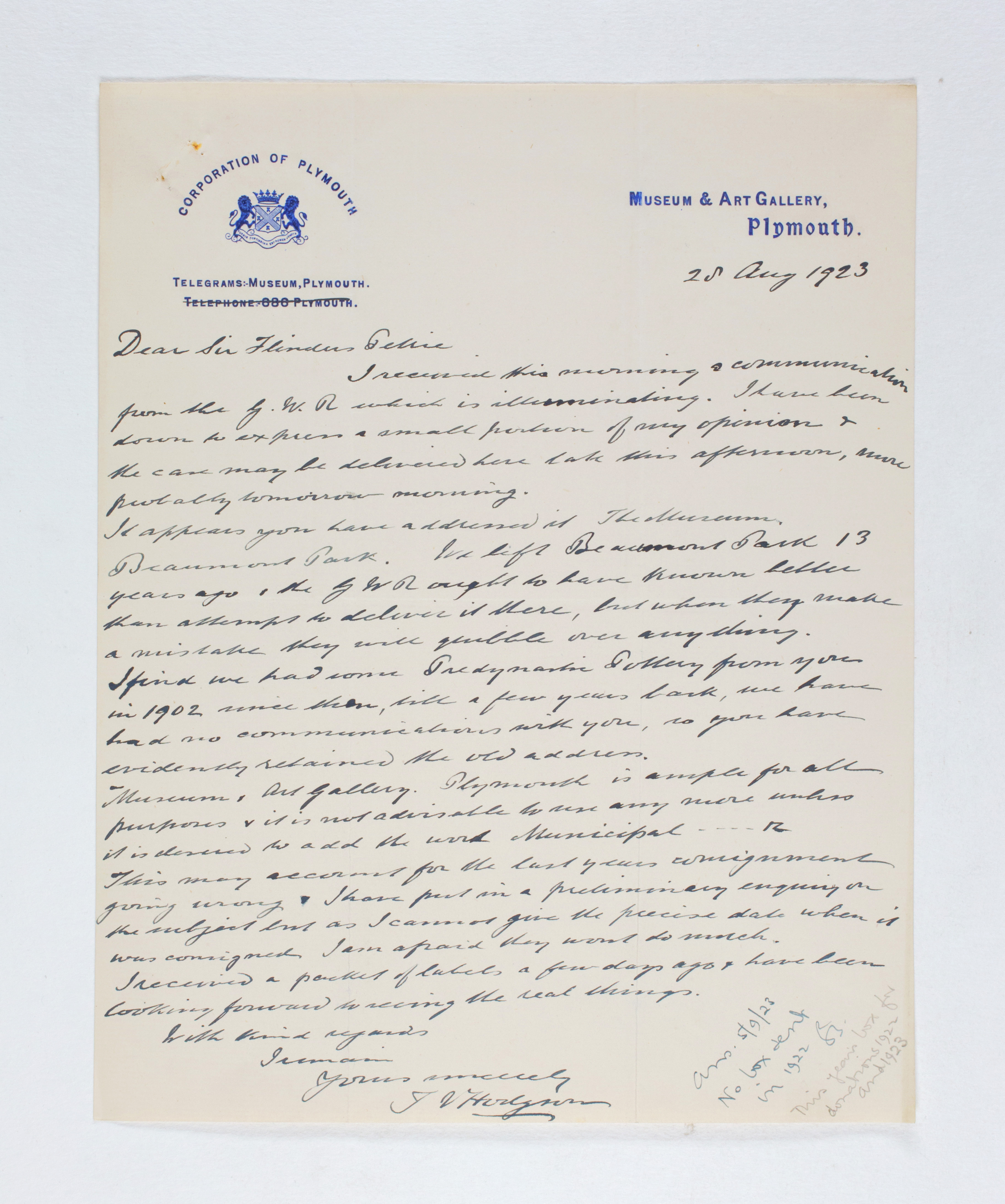 1922-23 Qau el-Kebir Correspondence PMA/WFP1/D/26/39