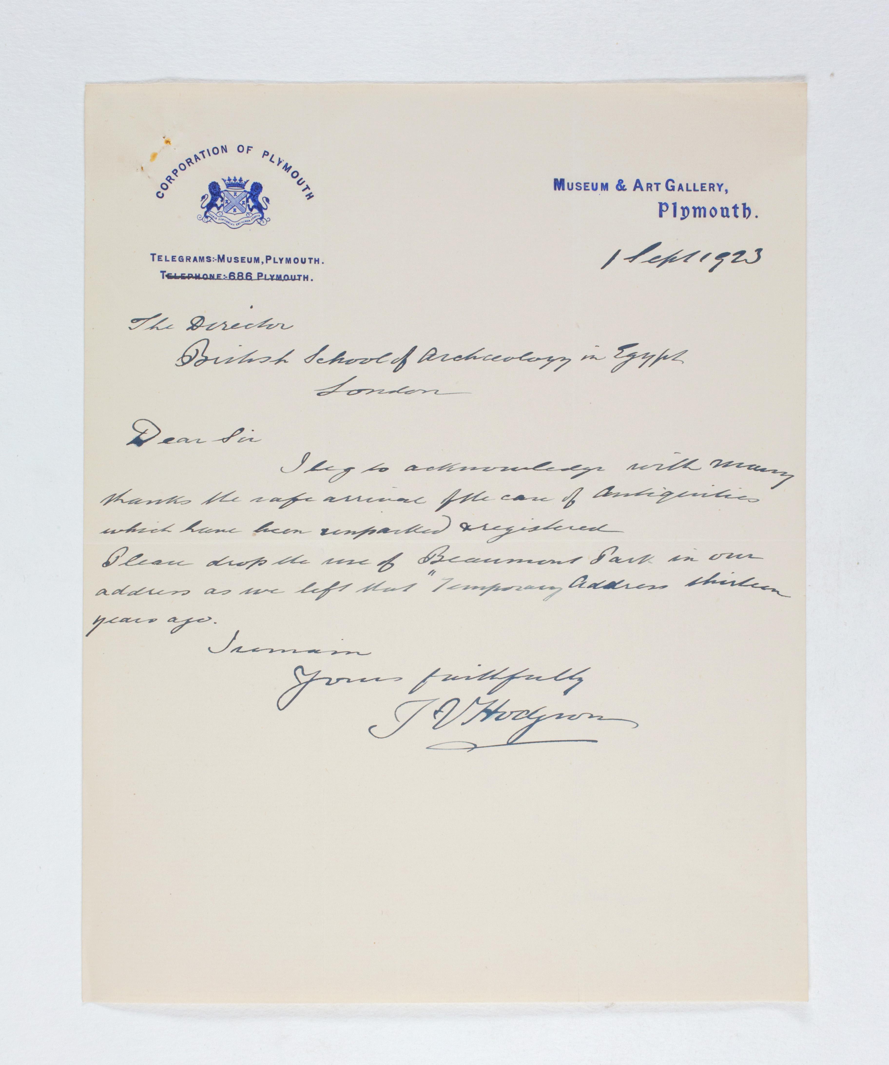 1922-23 Qau el-Kebir Correspondence PMA/WFP1/D/26/40