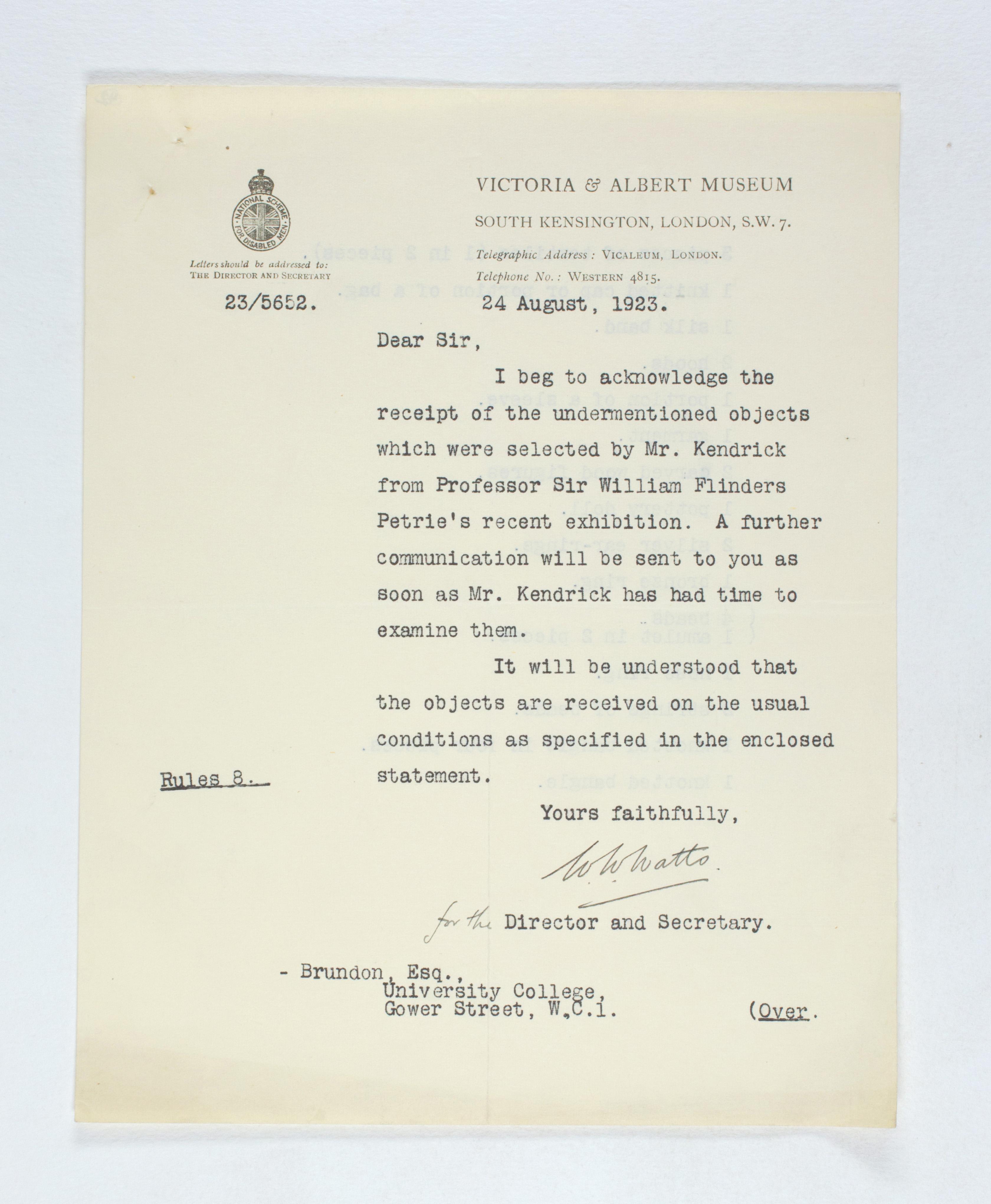 1922-23 Qau el-Kebir Receipt from institution  PMA/WFP1/D/26/42.1