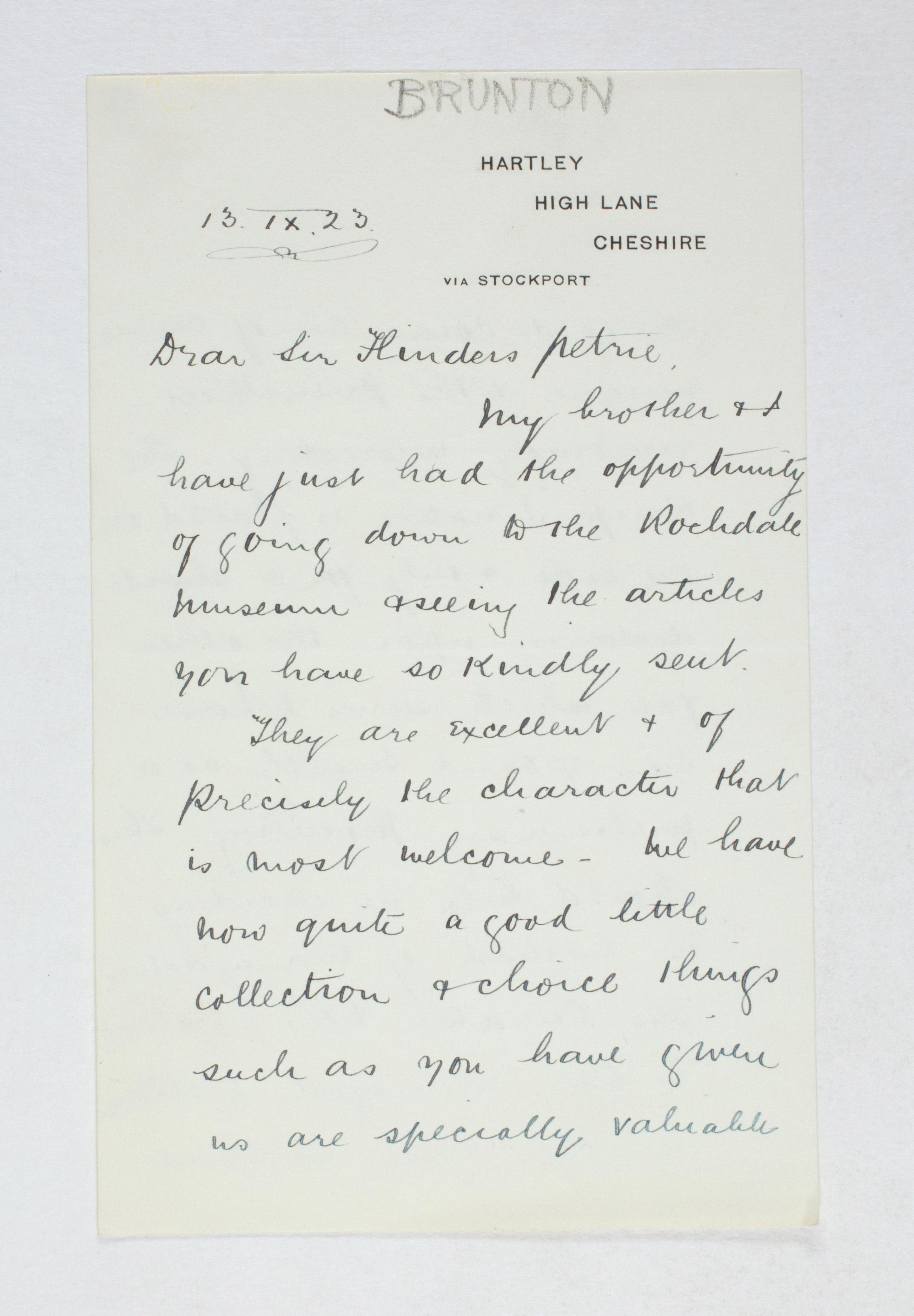 1922-23 Qau el-Kebir Correspondence PMA/WFP1/D/26/48.1