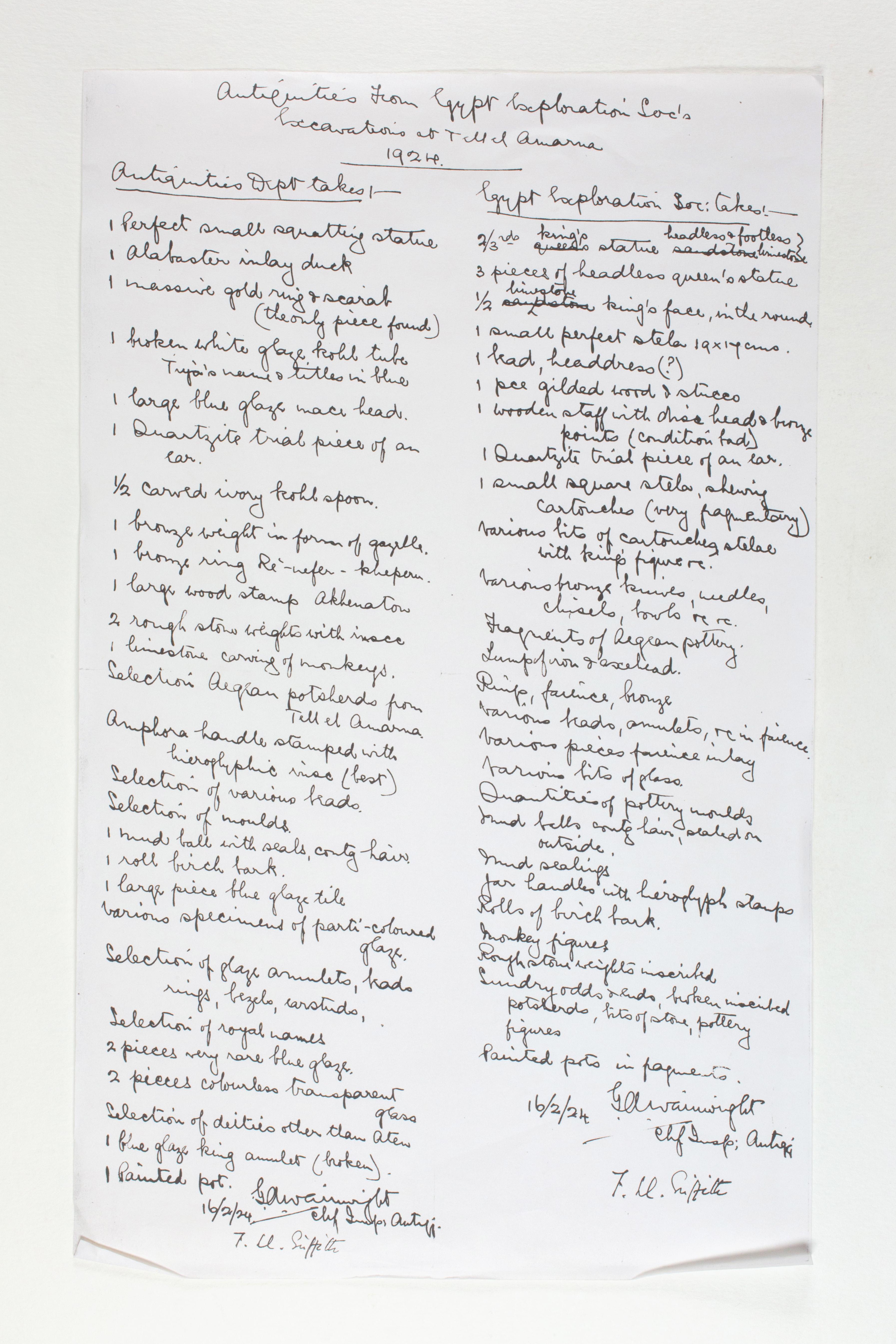 1924 Tell el-Amarna Individual institution list PMA/WFP1/D/27/1
