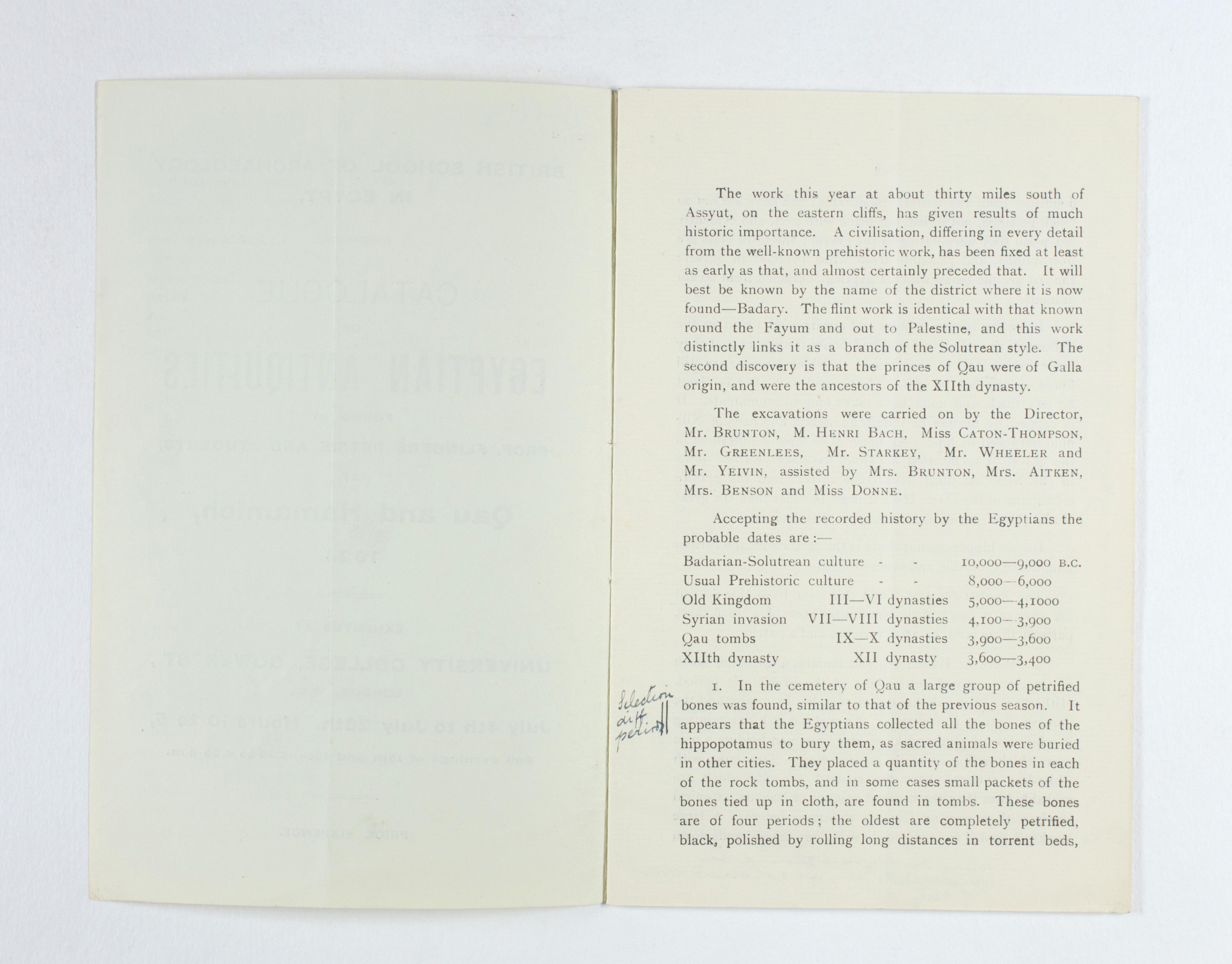 1923-24 Qau el-Kebir, Hemamieh Exhibition catalogue PMA/WFP1/D/27/28.2