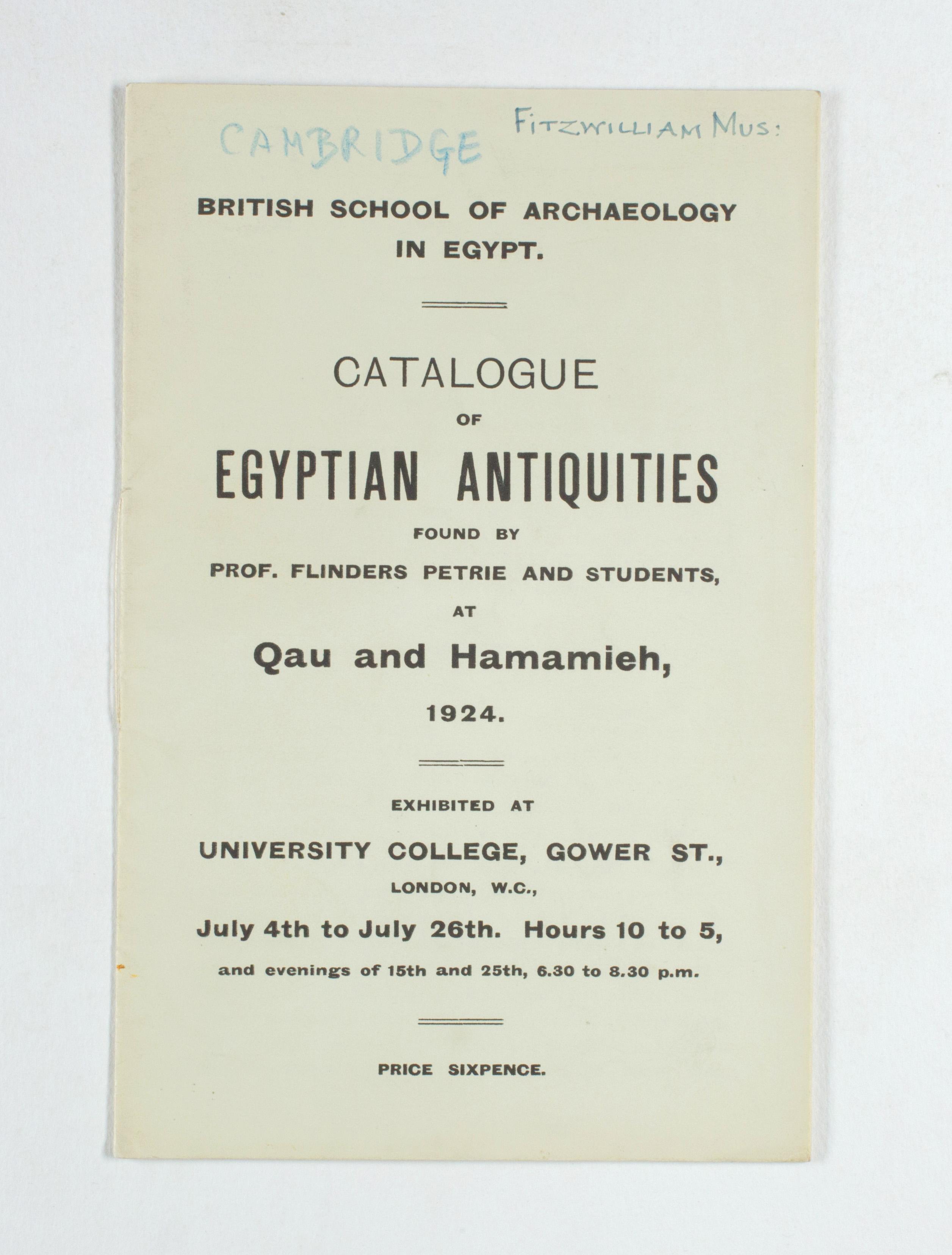 1923-24 Qau el-Kebir, Hemamieh Exhibition catalogue PMA/WFP1/D/27/29.1
